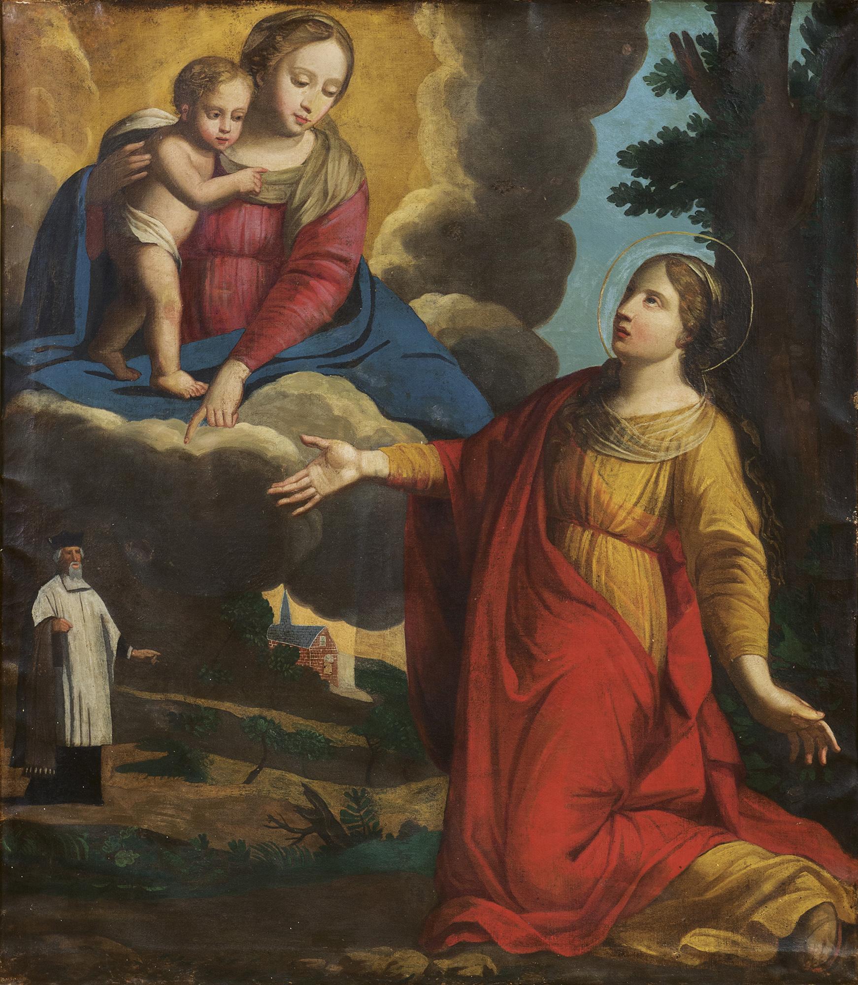 Madonna con Bambino che appare a una Santa e committente in lontananza