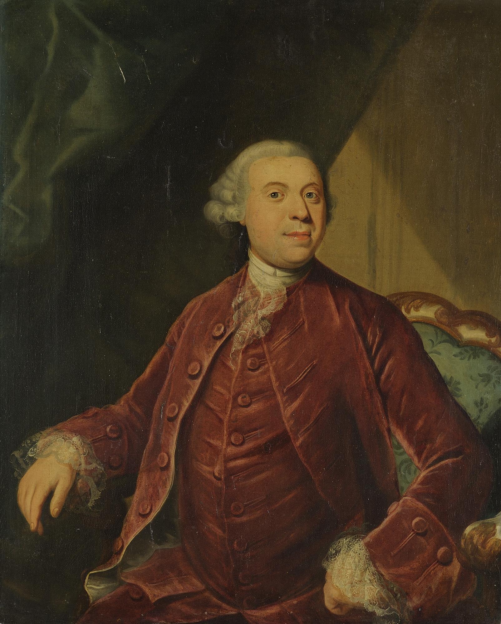 Ritratto di gentiluomo a tre quarti di figura, in marsina rossa