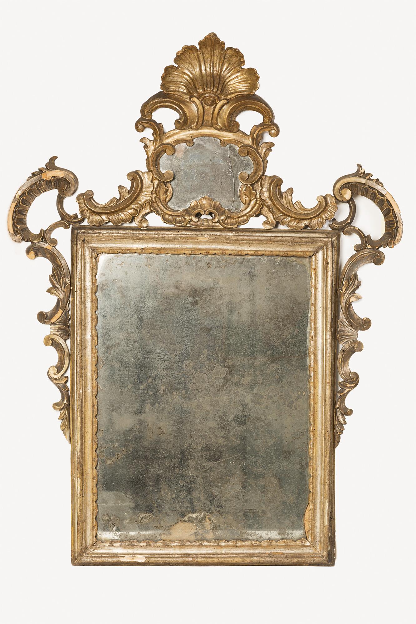 Specchio in legno intagliato e dorato con vetro al mercurio dipinti antichi e arte del xix - Specchio al mercurio ...