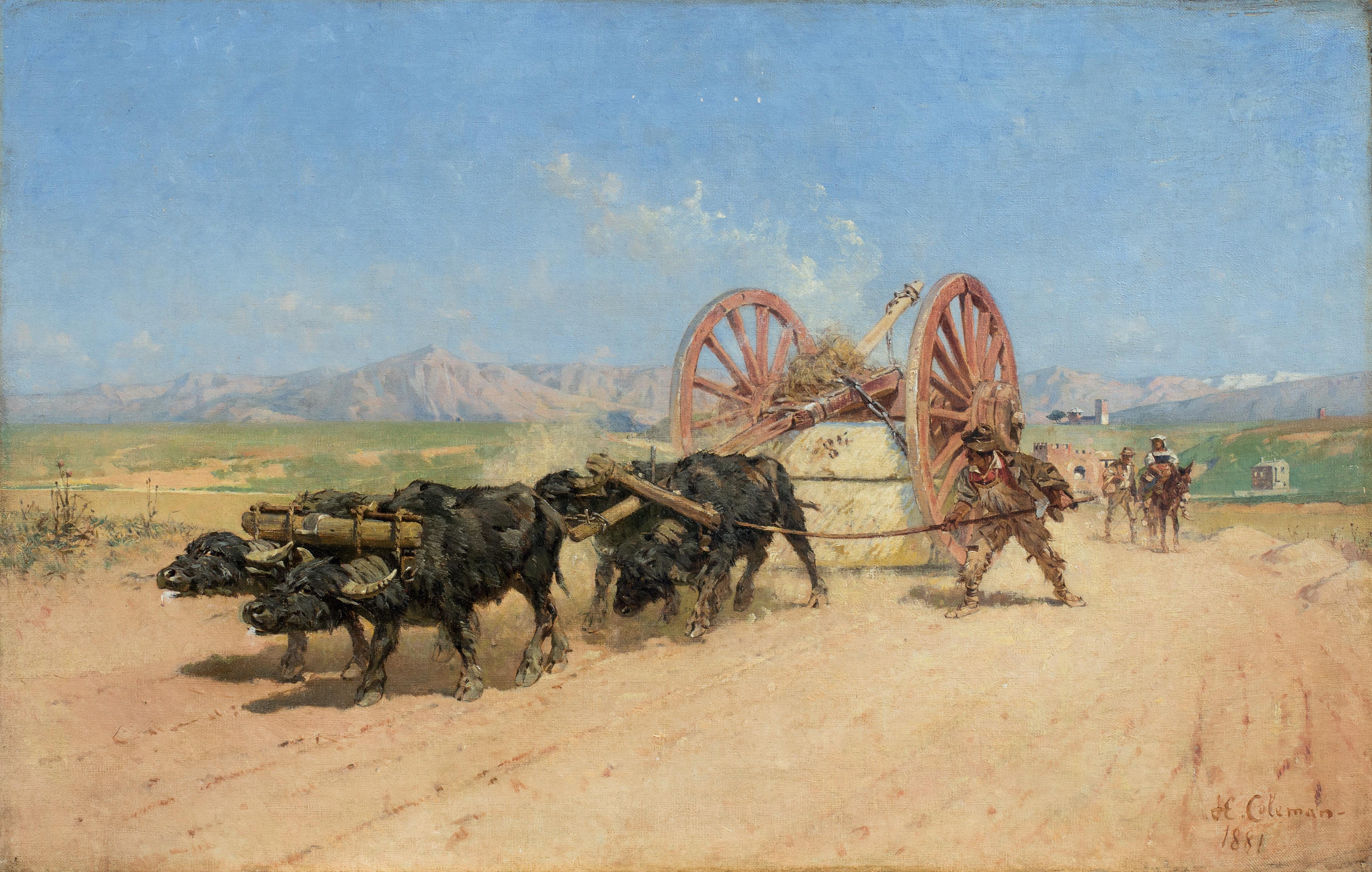 Roma, il trasporto del fieno con il ponte Nomentano e il Monte Sacro sullo sfondo, 1881