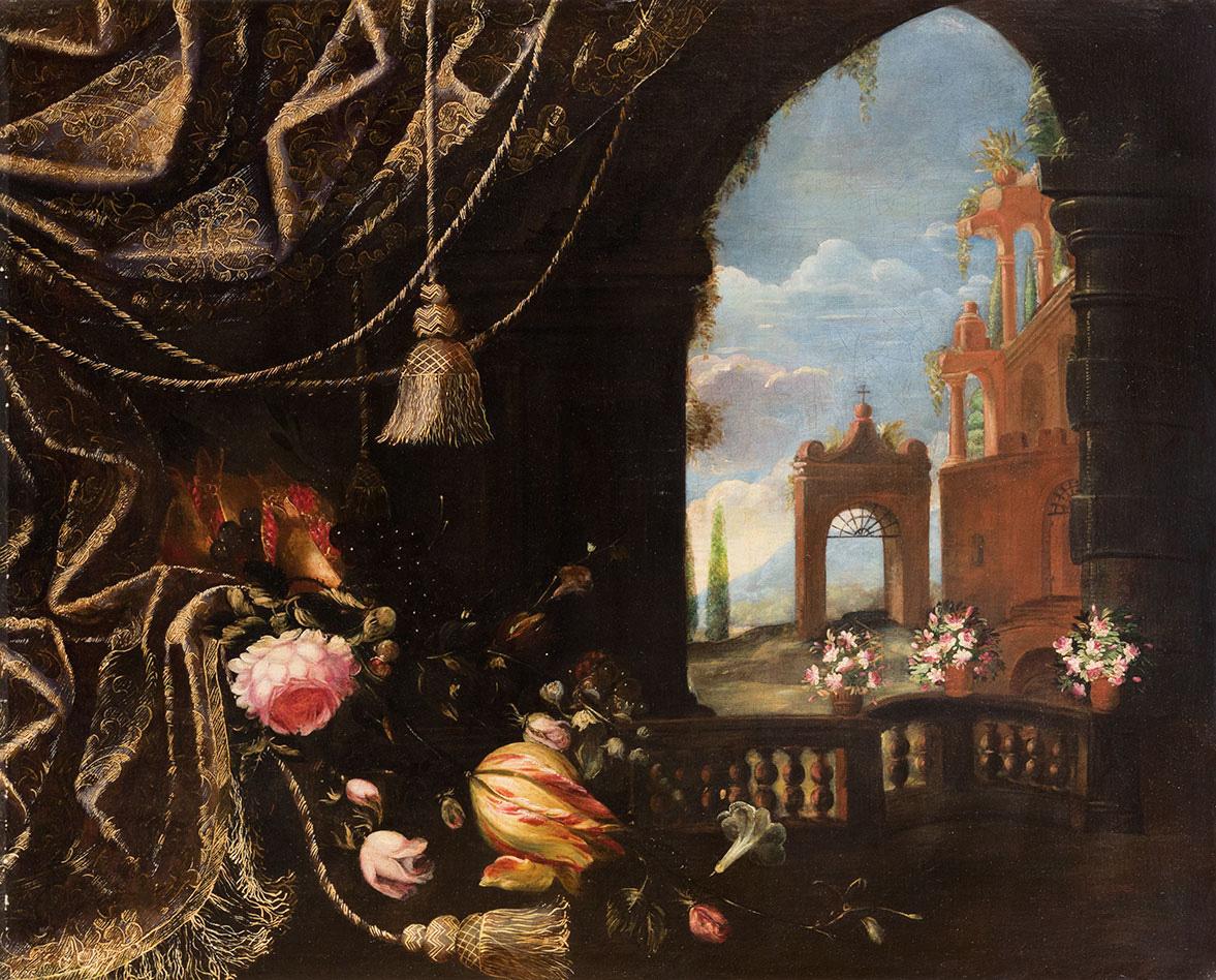 Fiori e frutta con tendaggio di broccato e architetture fantastiche  di palazzo sullo sfondo