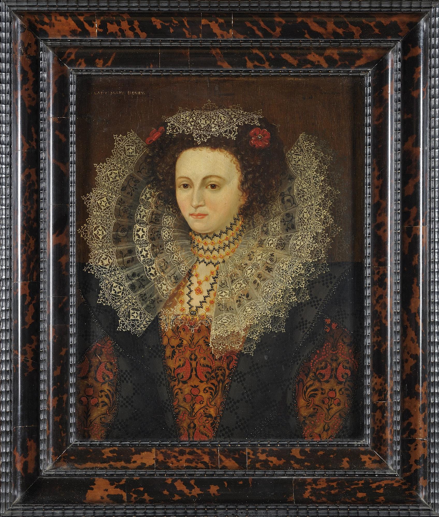 Ritratto di Mary Sidney, a mezzo busto, in abiti eleganti e colletto di pizzo