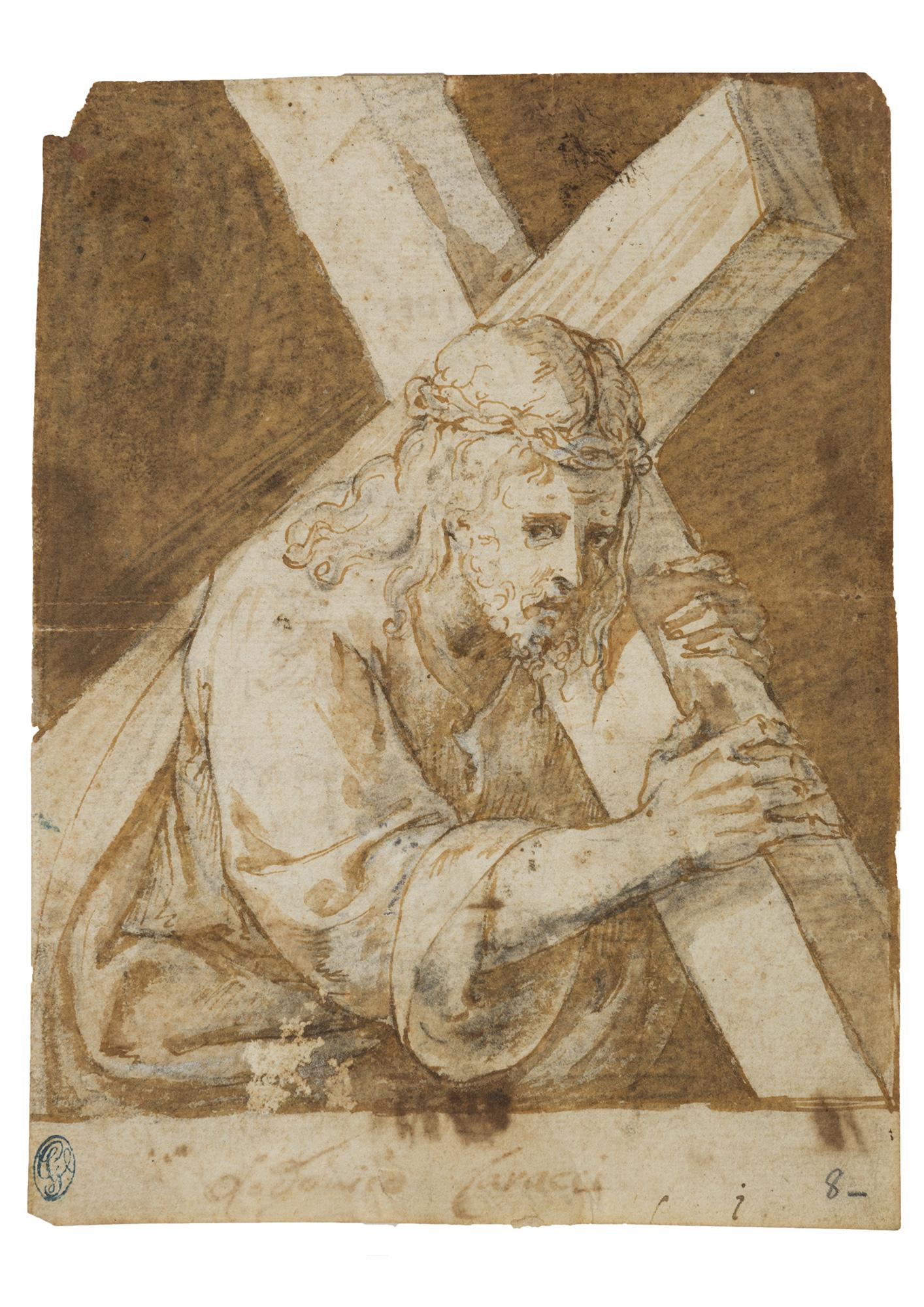 Cristo portacroce (recto) e studio per stemma nobiliare (verso)