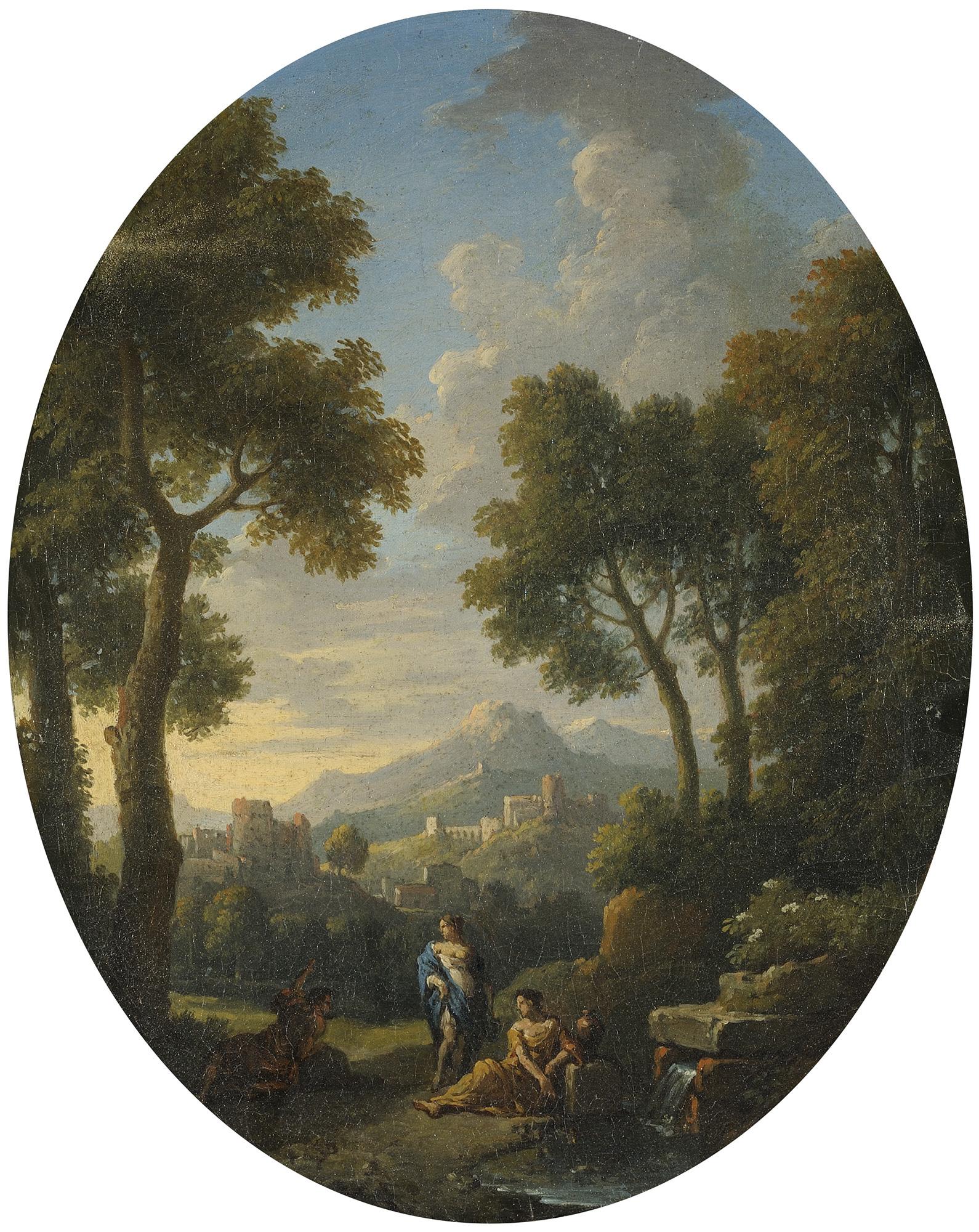 Paesaggio fluviale con figure e borgo antico sullo sfondo; e Paesaggio con figure presso un fontanile