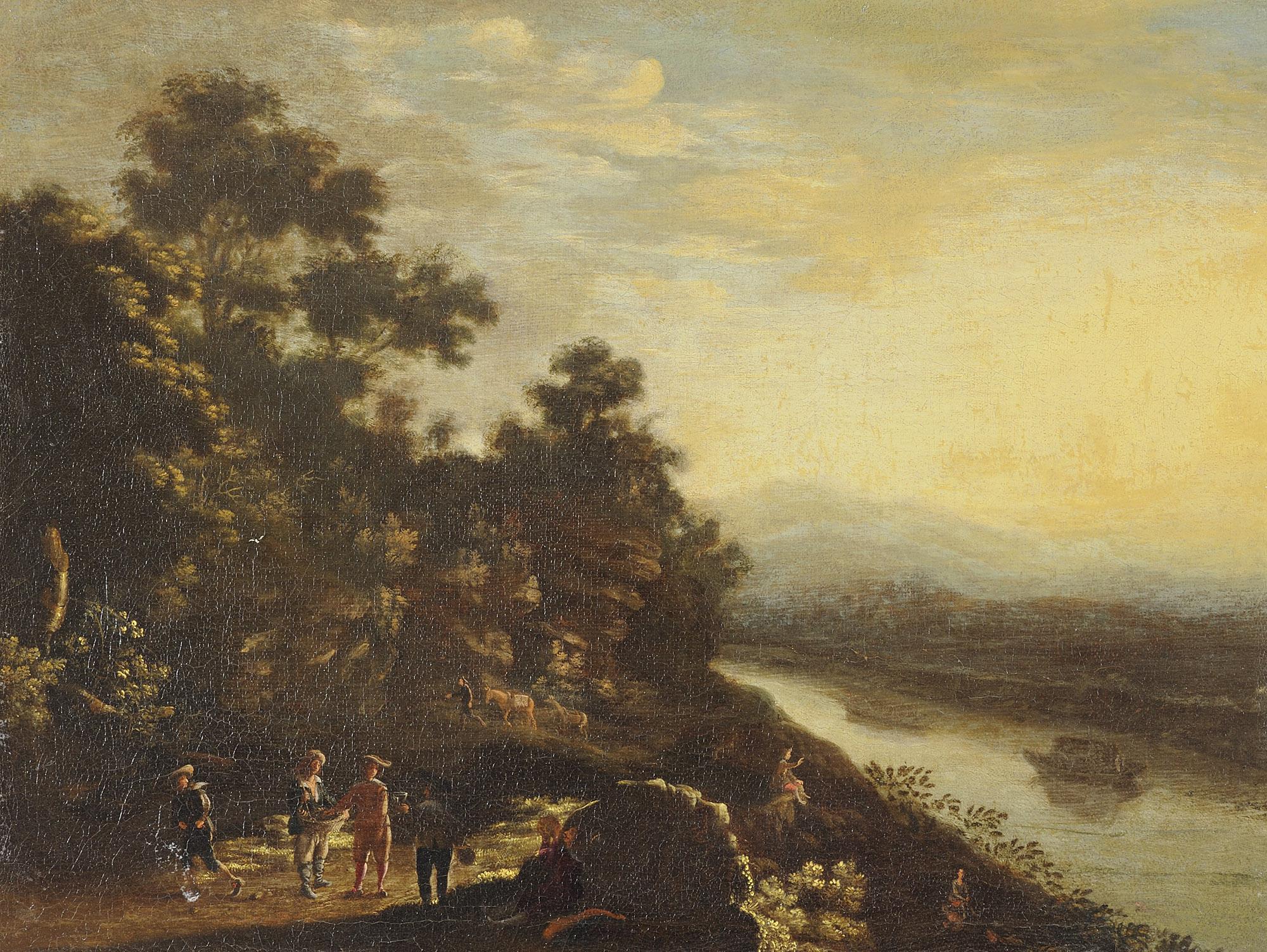 Paesaggio fluviale con viandanti