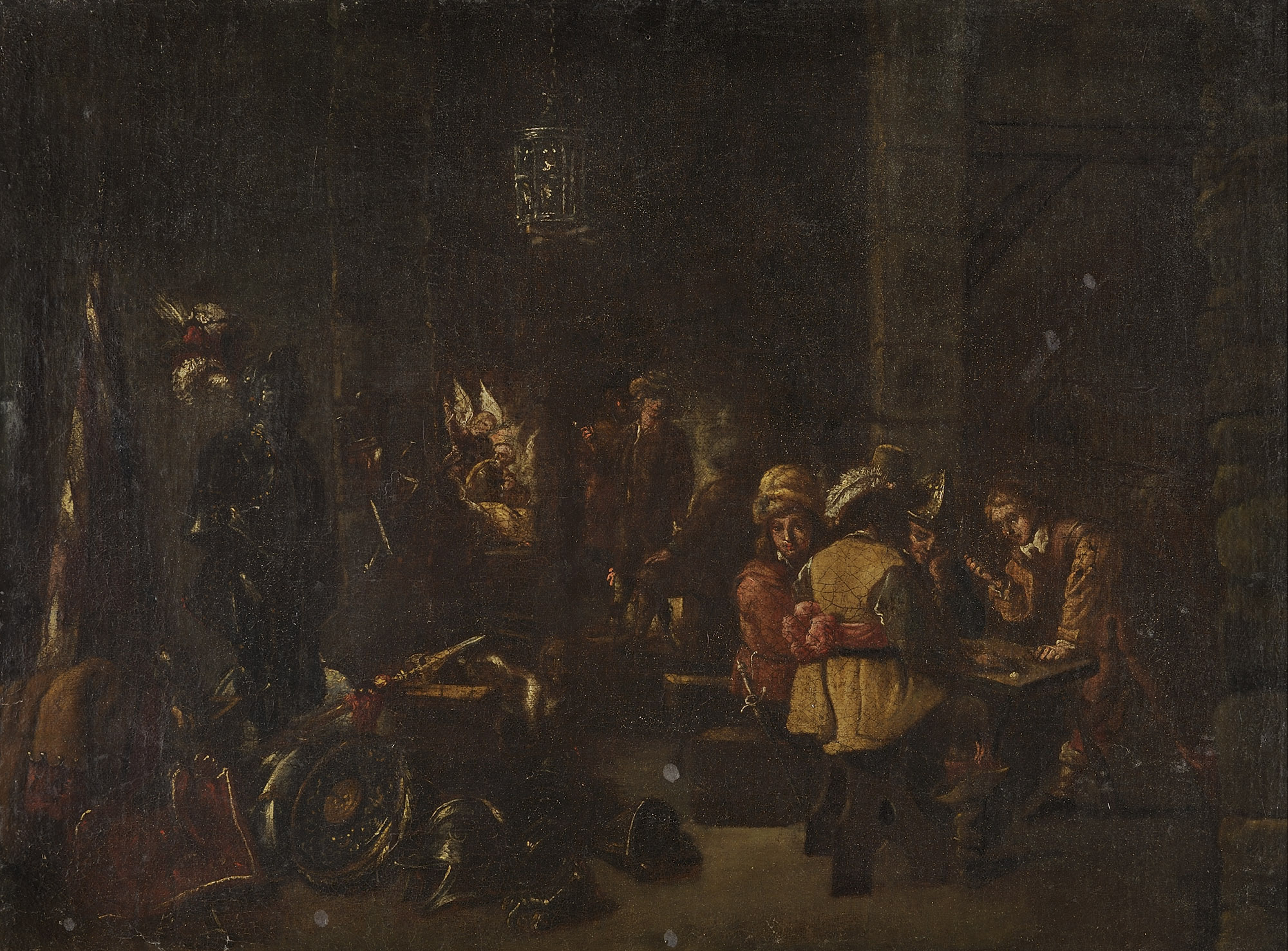 Scena di interno con soldati che giocano a dadi e apparizione dell'angelo a Matteo sullo sfondo