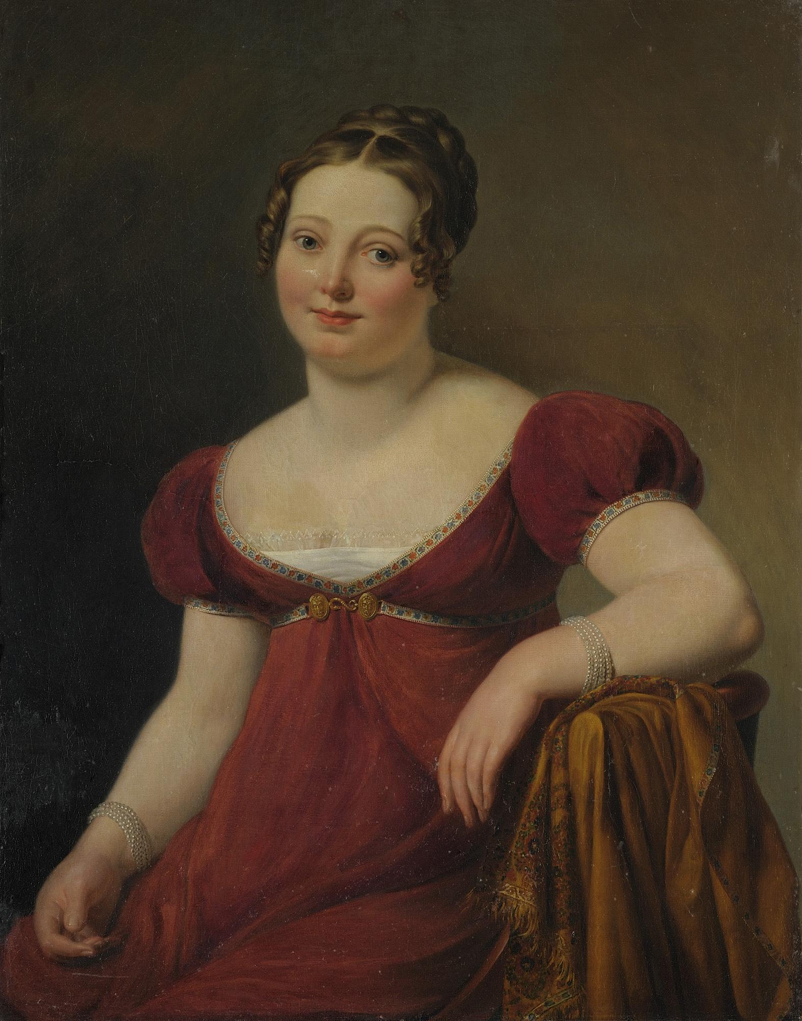 Ritratto di gentildonna a tre quarti di figura, in abito rosso