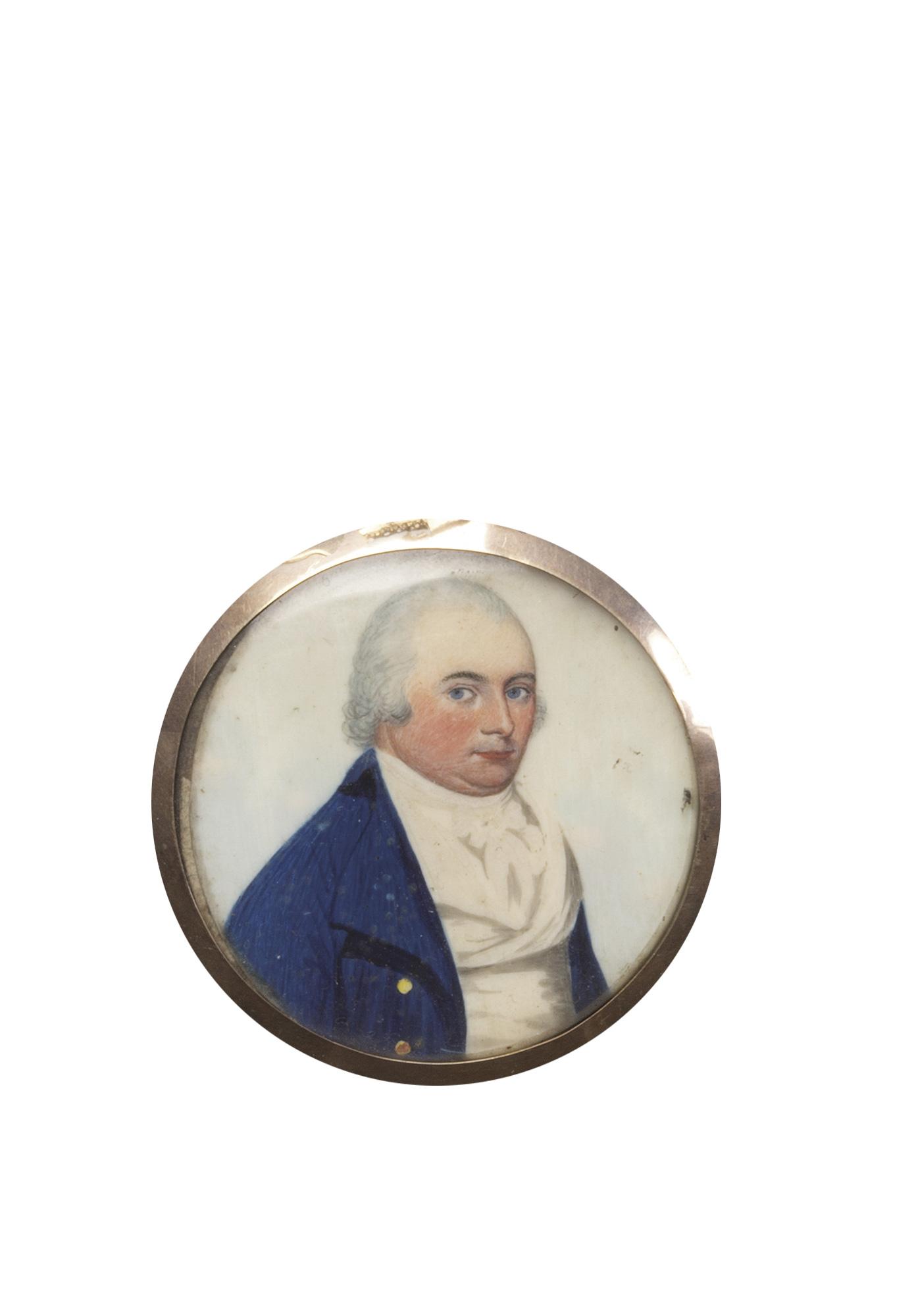 Quattro miniature su avorio raffiguranti ritratti di gentiluomini a mezzo busto