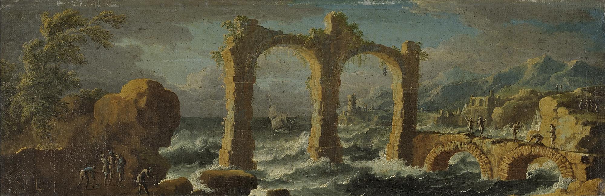 Capriccio architettonico con marina in burrasca