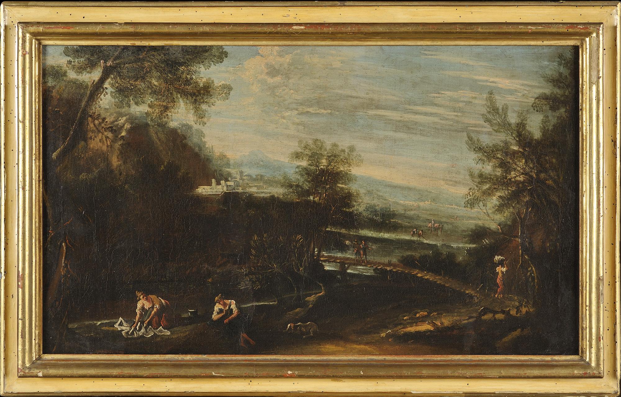 Paesaggio fluviale con lavandaie e viandanti in lontananza; e Paesaggio fluviale con viandanti in sosta e borgo turrito sullo sfondo