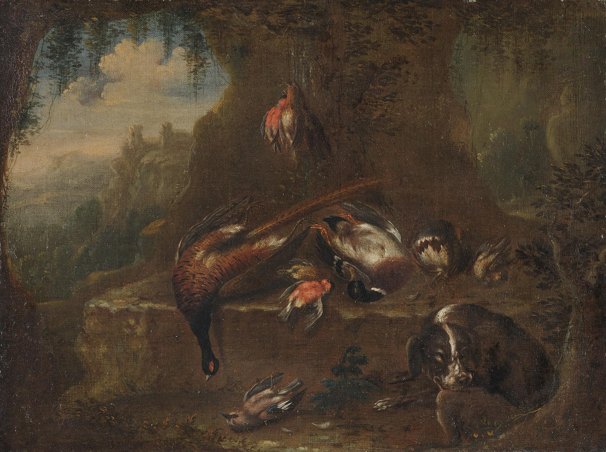 Cacciagione di penna e cane a riposo in un paesaggio