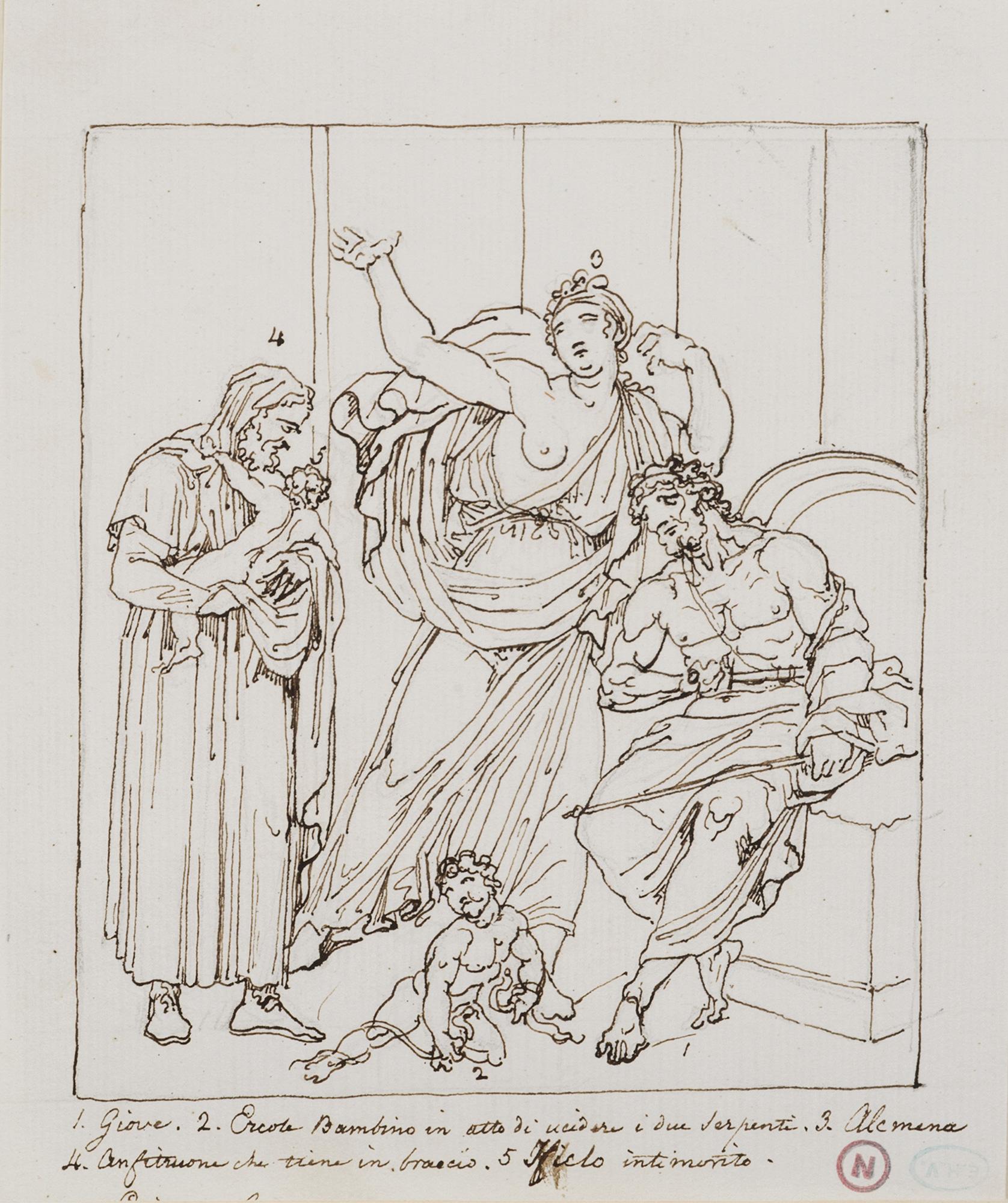 Giove, Ercole bambino che uccide i serpenti, Alcmena e Anfitrione