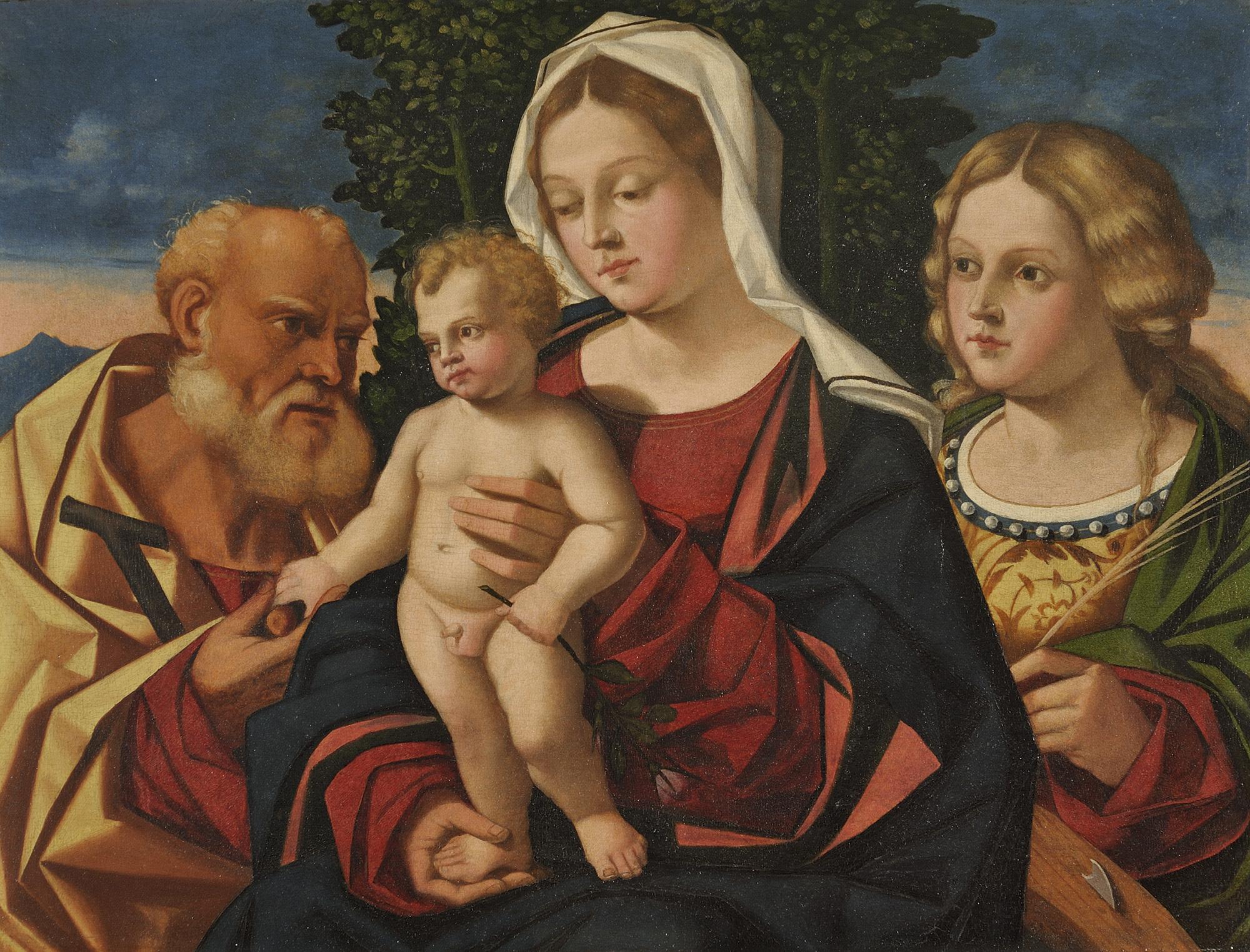Madonna con bambino santa caterina d alessandria e un for Veneta arredi alessandria