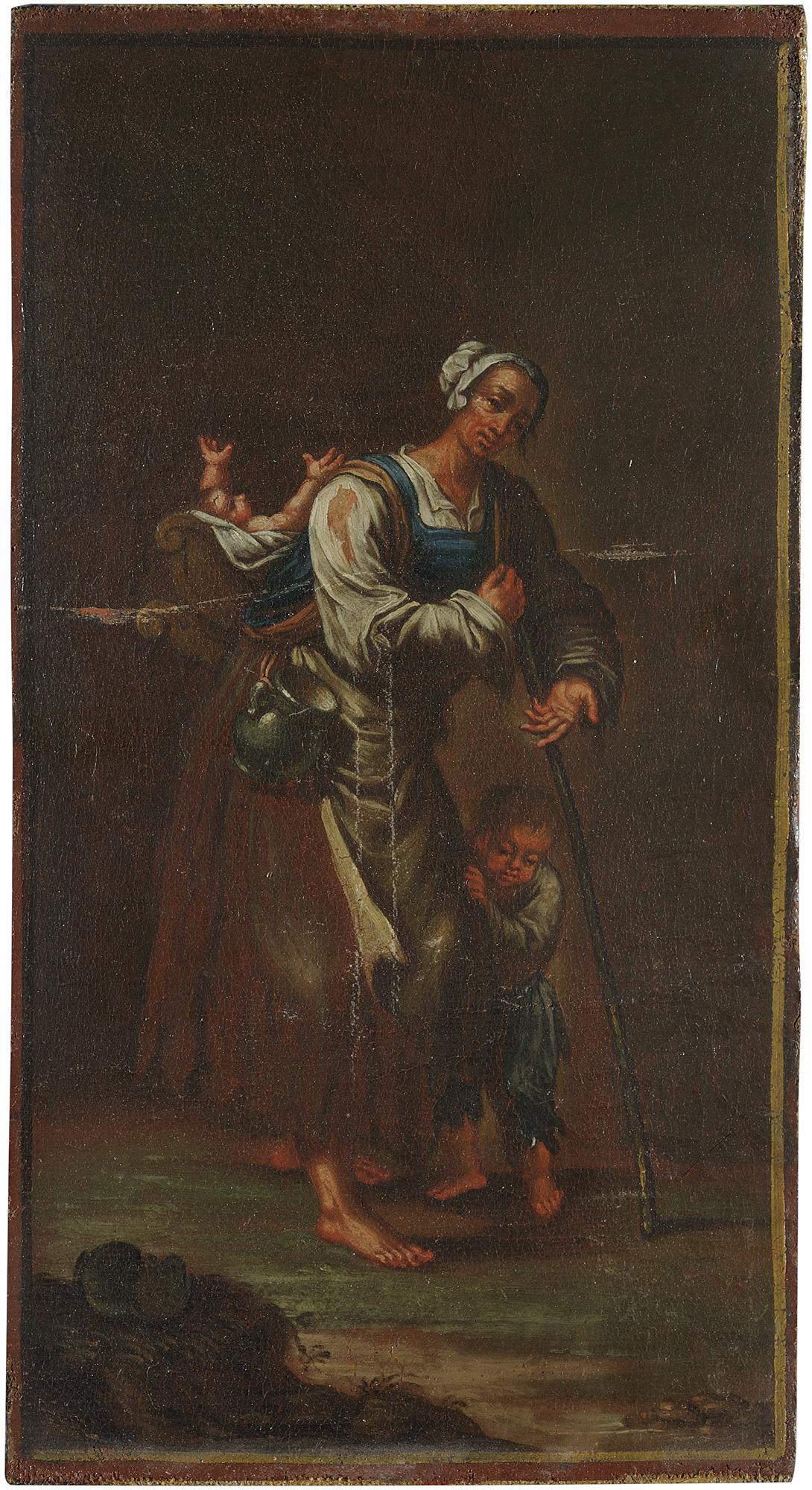 Tre pitocchi: vecchia mendicante, uomo ammantato e giovane madre con due bambini