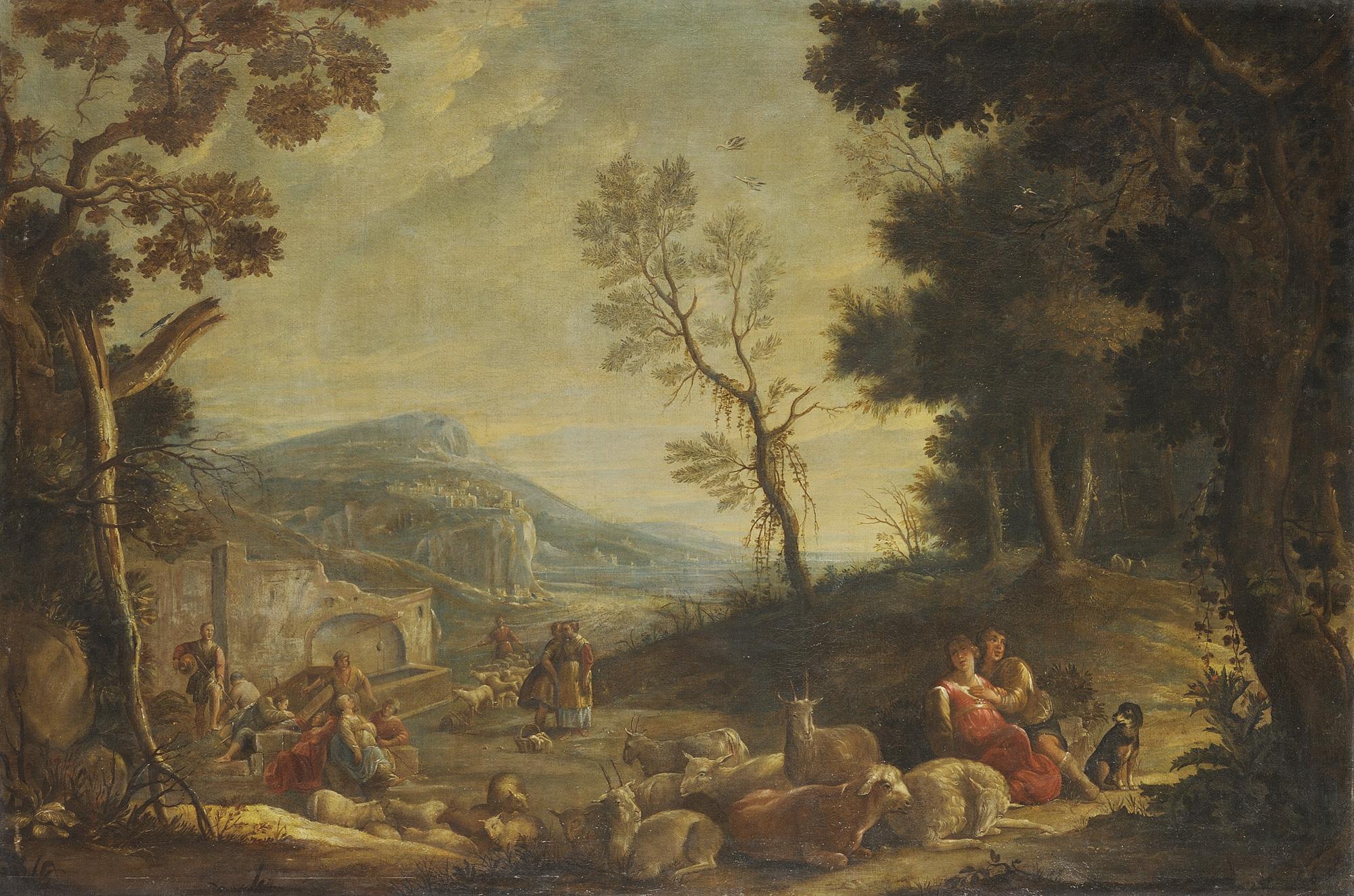 Paesaggio con pastori e armenti e figure di popolani in sosta presso un fontanile