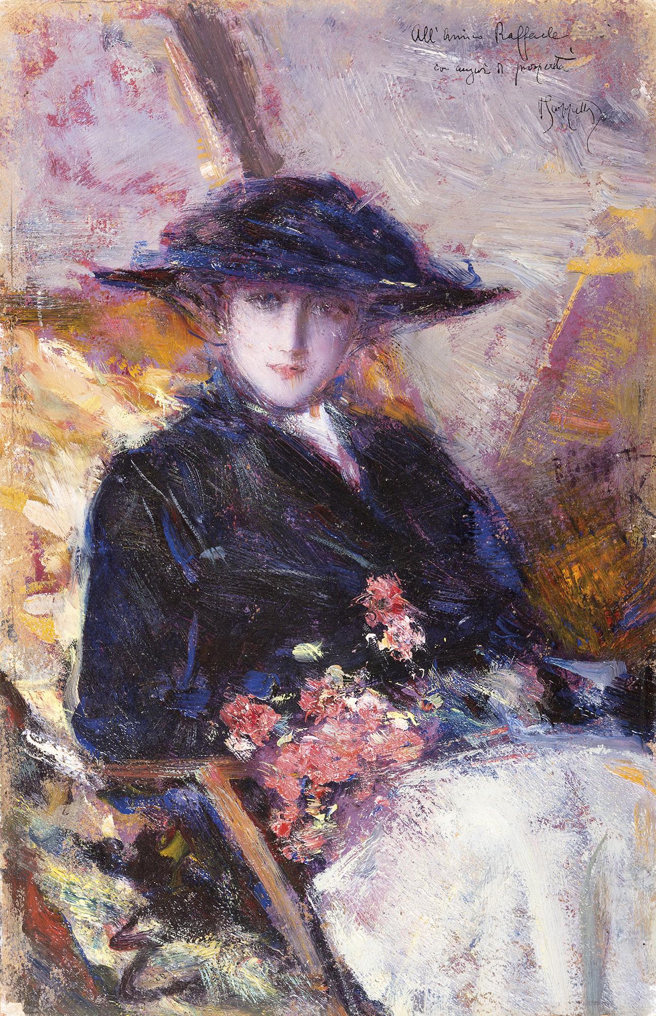 Giovane donna con cappello nero e mazzo di fiori dipinti for Immagini di fiori dipinti