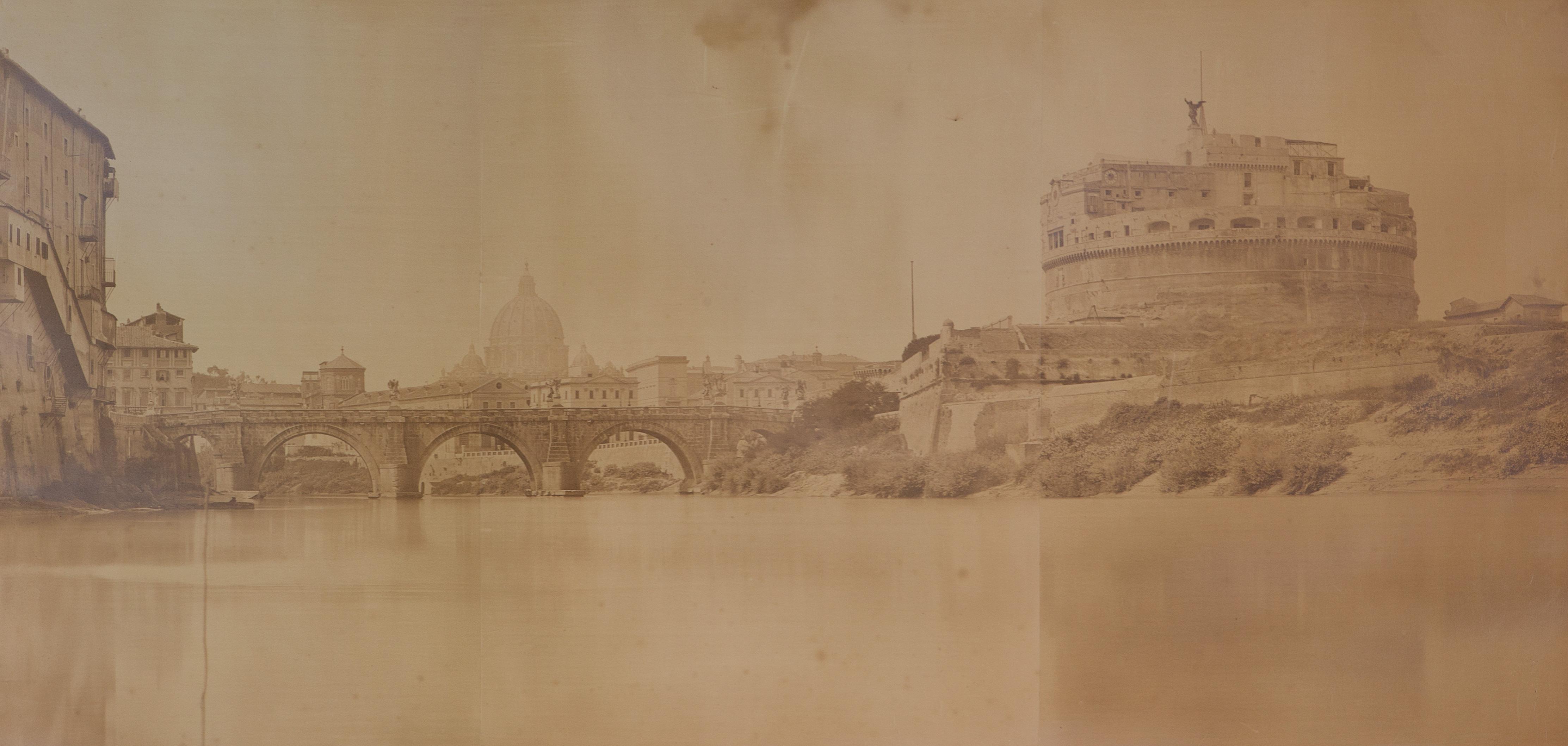 Roma, Panoramica, Il Tevere con Castel Sant'Angelo, ca. 1870