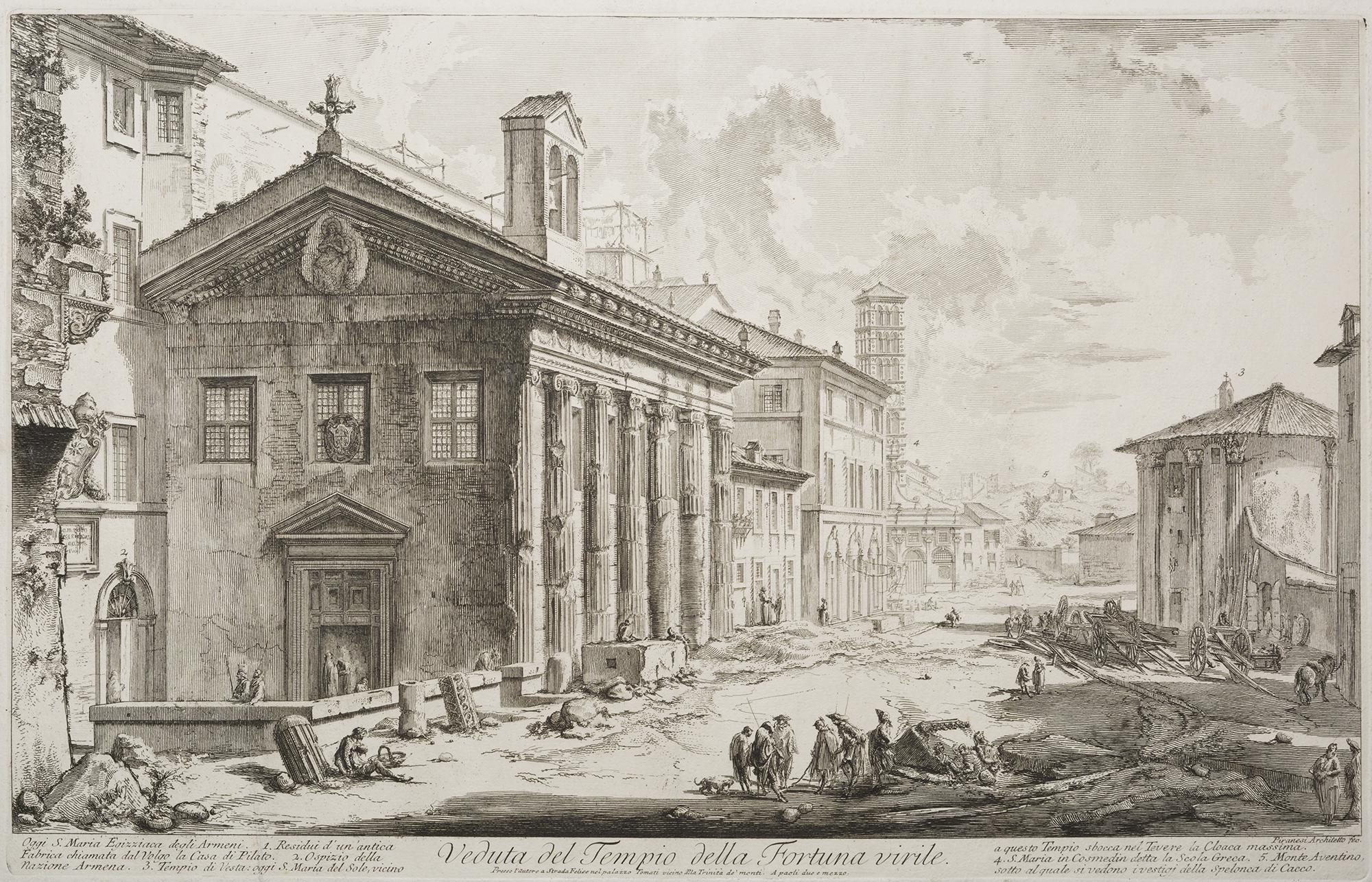 roma piranesi veduta del tempio della fortuna virile