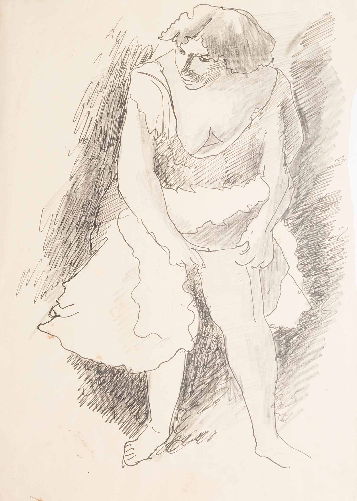 Studio di ballerina che infila la calza, 1942/'44