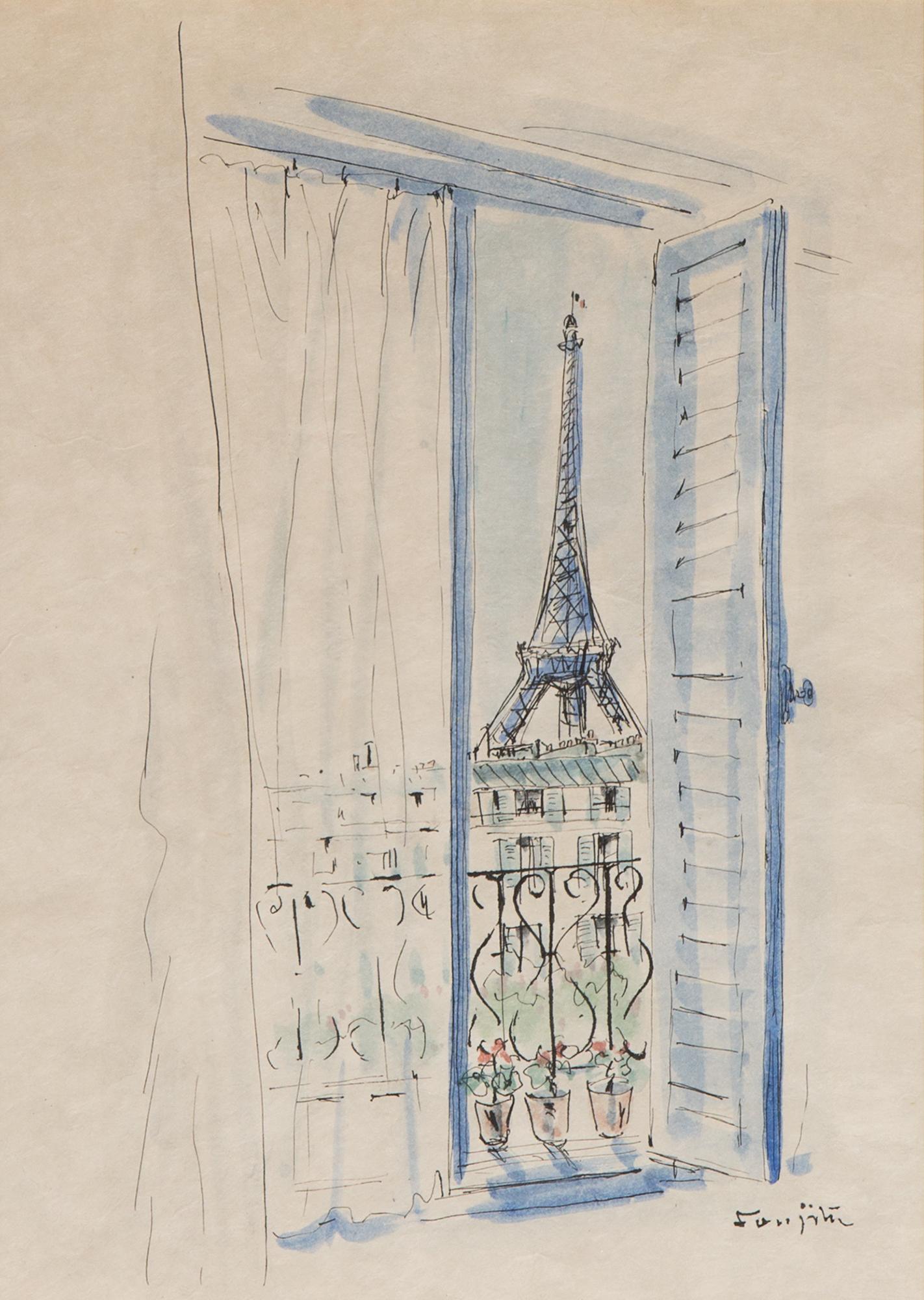 Vue de la fenetre tour eiffel 1939 arte moderna e contemporanea asta 123 minerva auctions for Fenetre 123