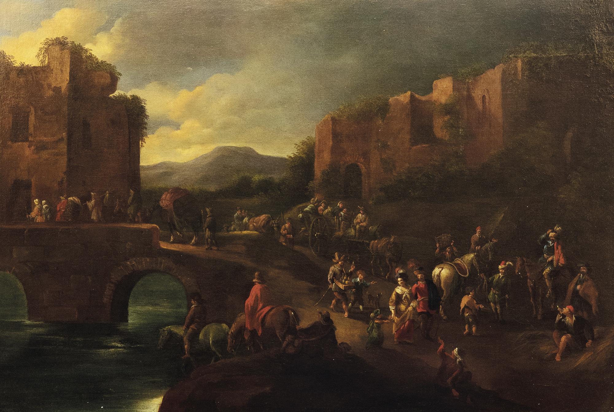 Viandanti presso le mura di una città con ponte di pietra
