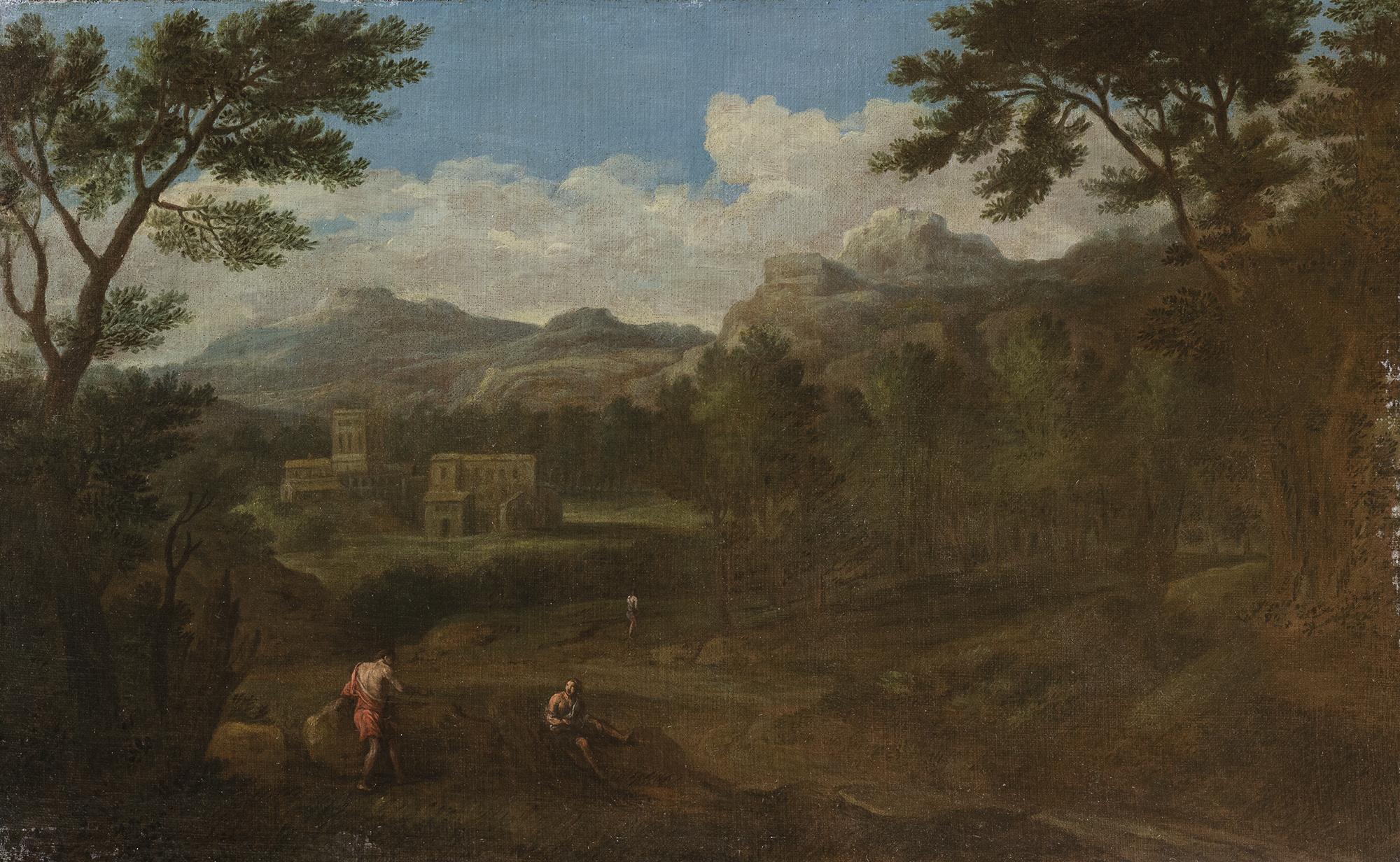 Paesaggio laziale con figure e borgo in lontananza