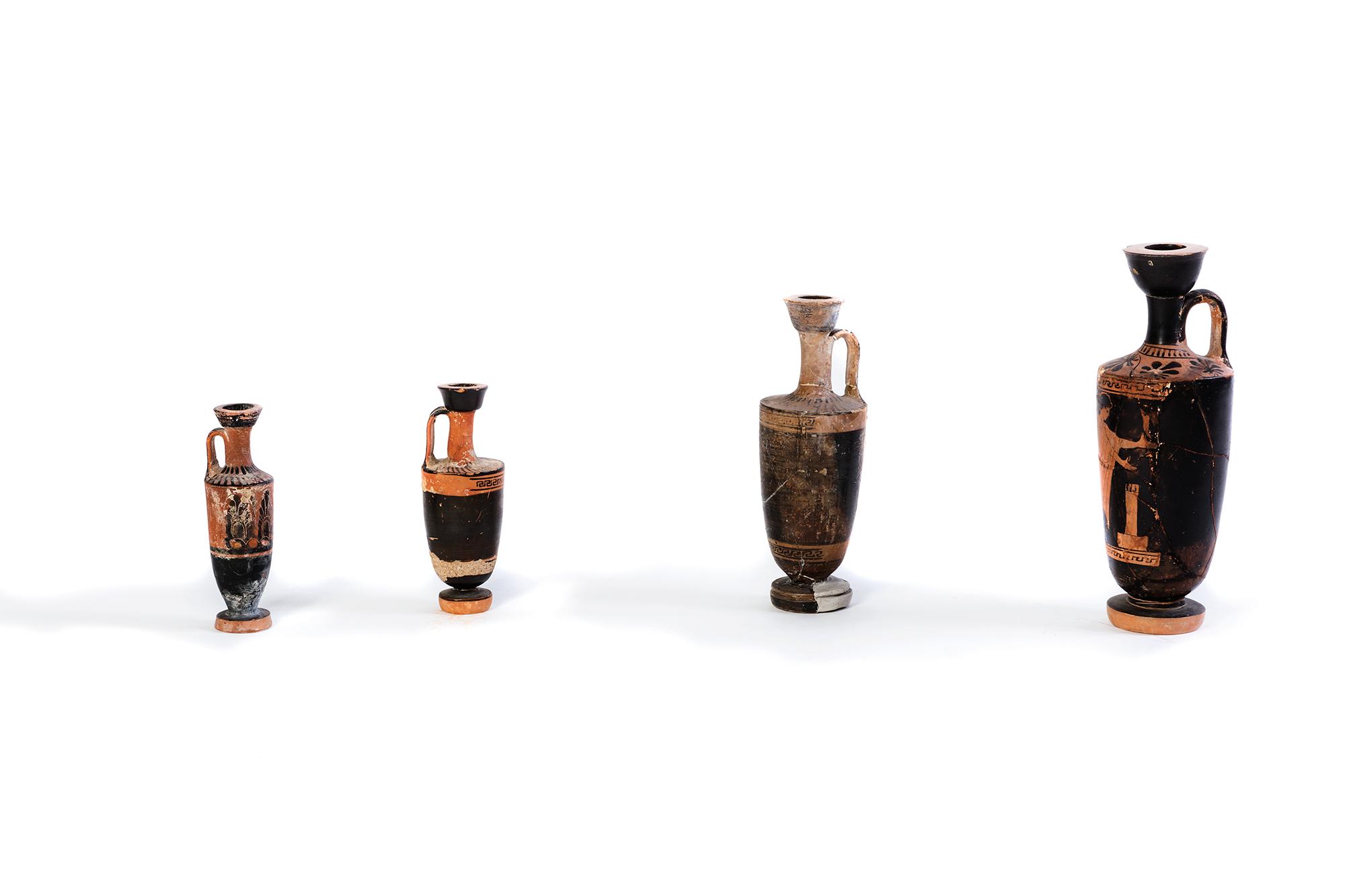 Lotto composto da quattro lekythos attiche, V secolo a.C.