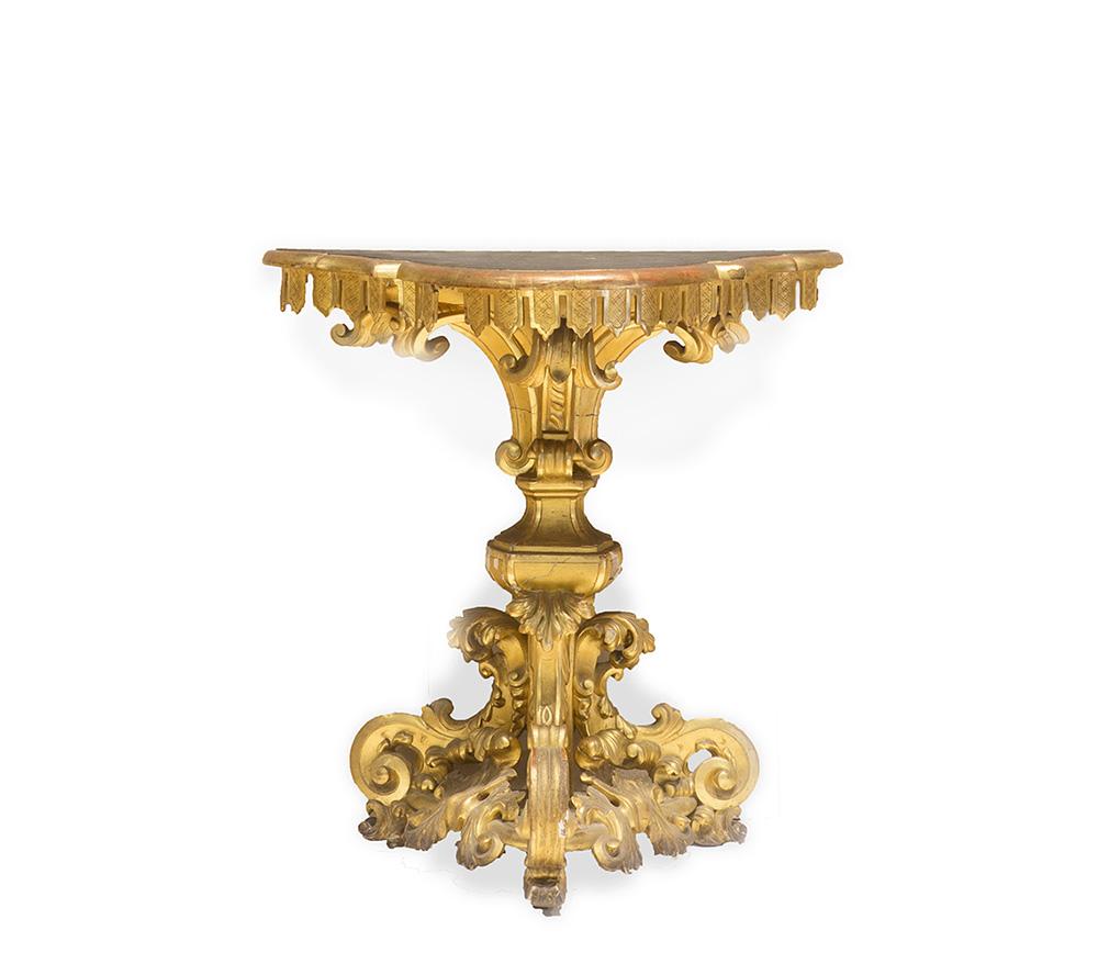 Coppia di piccoli tavoli da parete, metà secolo XIX