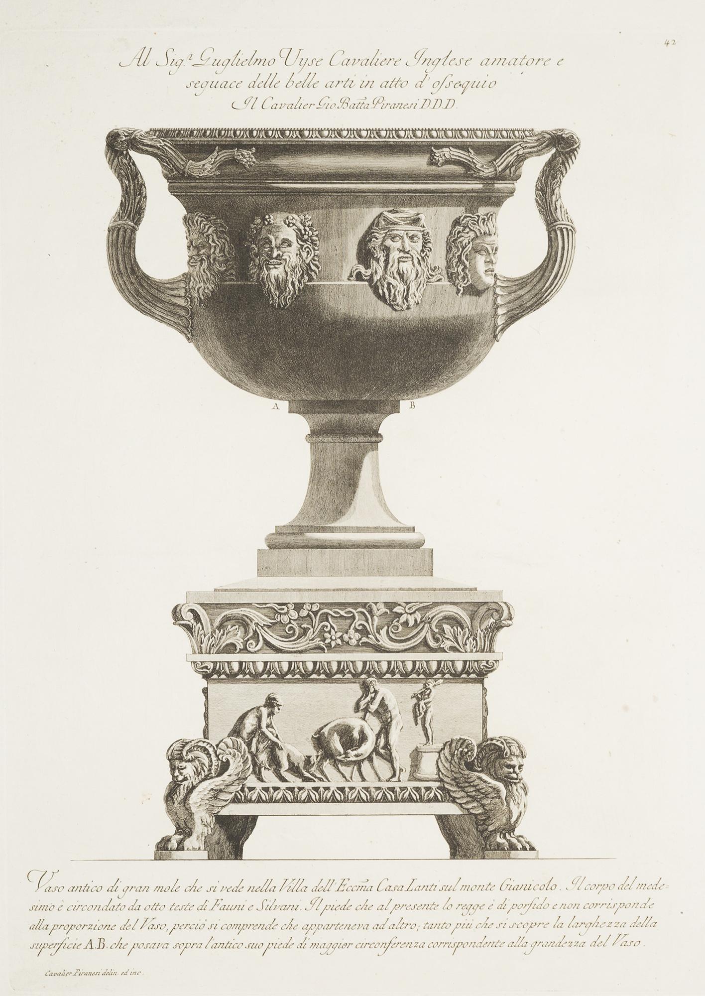 Piranesi vaso antico di gran mole che si vede nella villa for Vaso attico