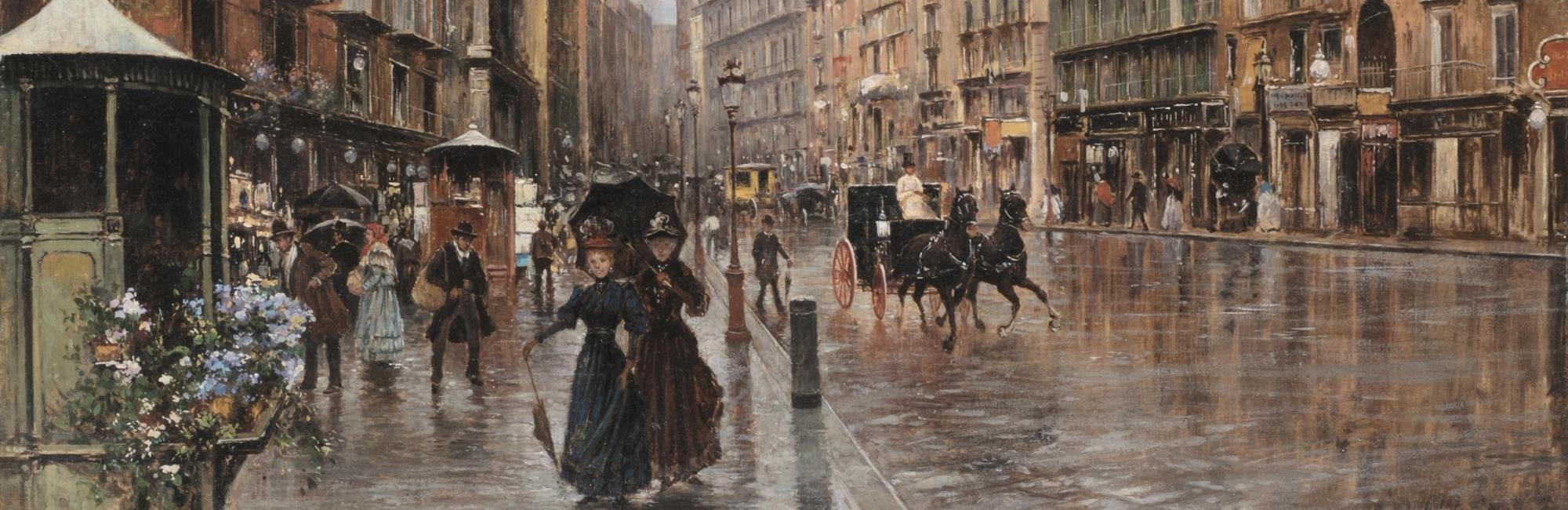 Napoli, Via Toledo: impressione di pioggia