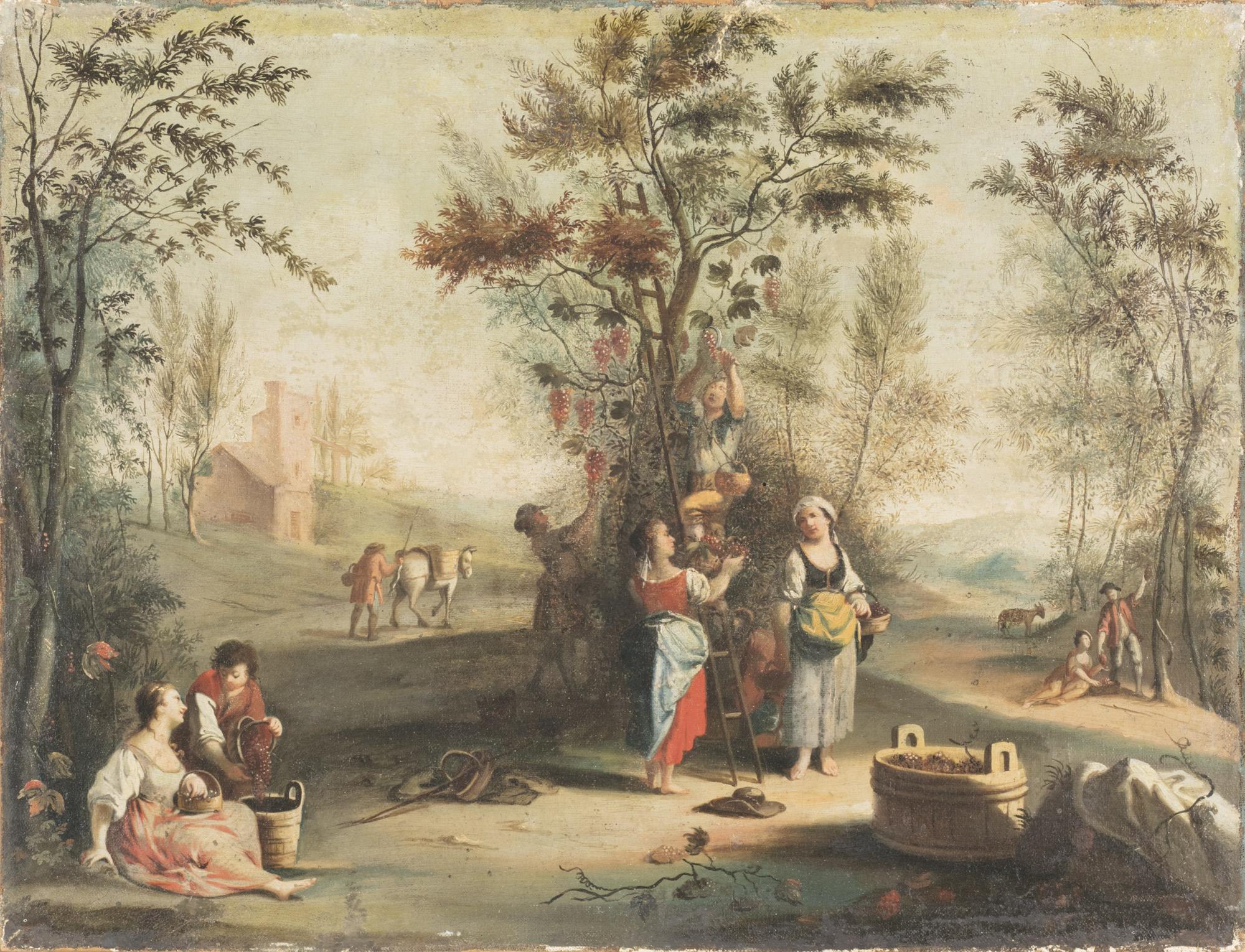 Due paesaggi con scene pastorali: la vendemmia; e la tosatura delle pecore (Allegoria dell'Autunno e della Primavera)
