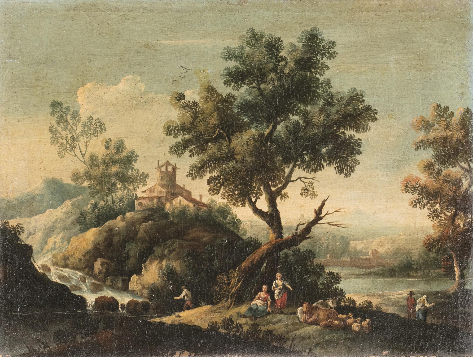 Due paesaggi fluviali con caseggiati rustici e astanti