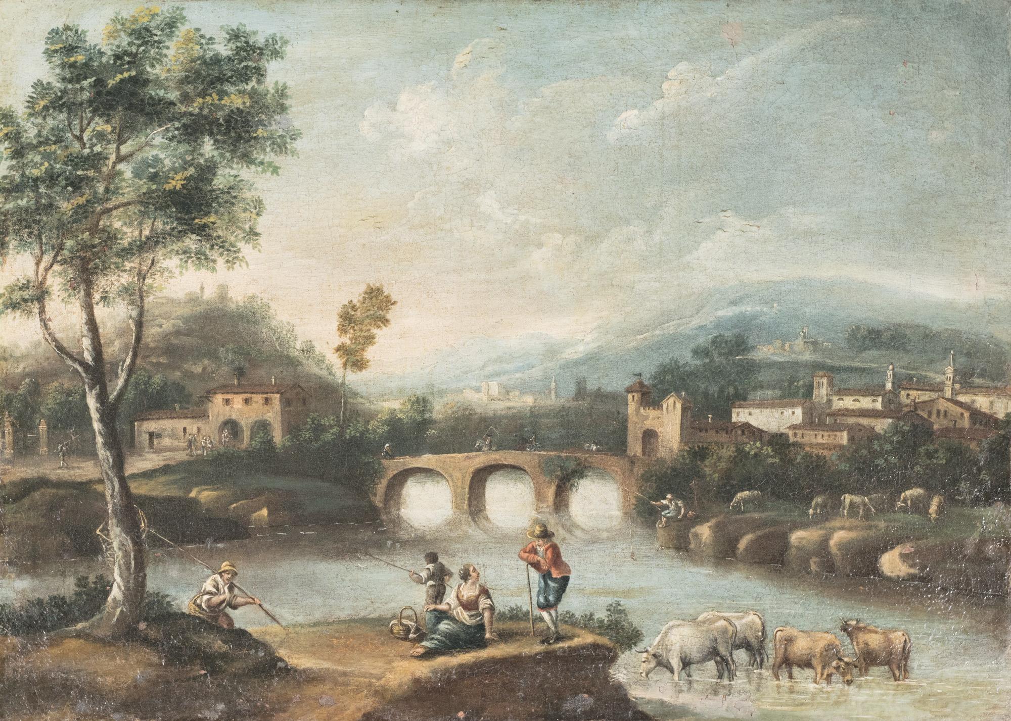Paesaggio fluviale con ponte di pietra, borgo antico e armenti al guado; e paesaggio fluviale con viandanti e villa sullo sfondo