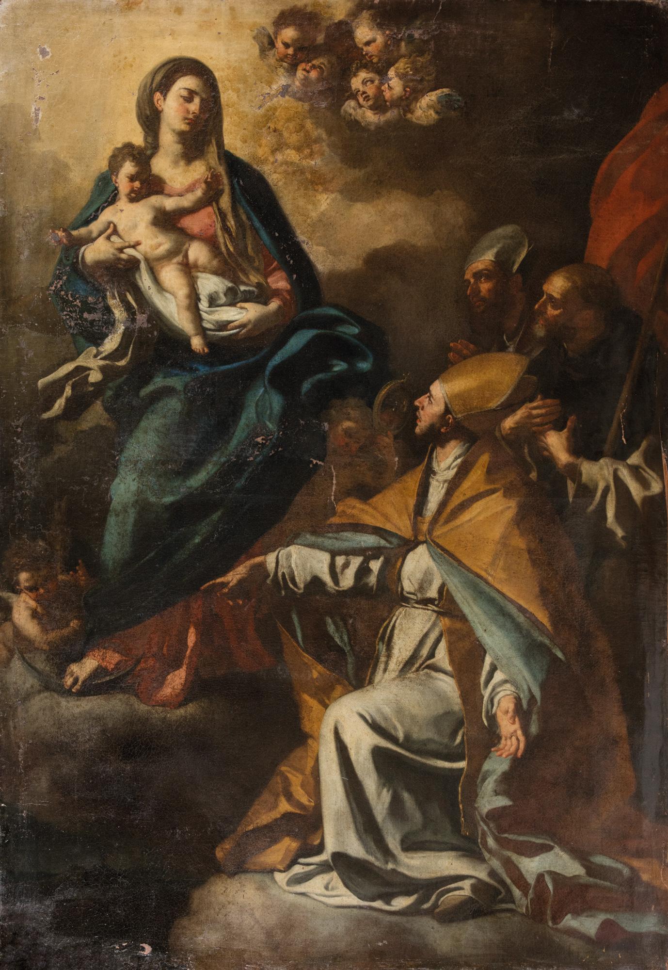 San Gennaro, un santo domenicano e un santo vescovo (Sant'Aspreno?) chiedono l'intercessione della Vergine per la città di Napoli
