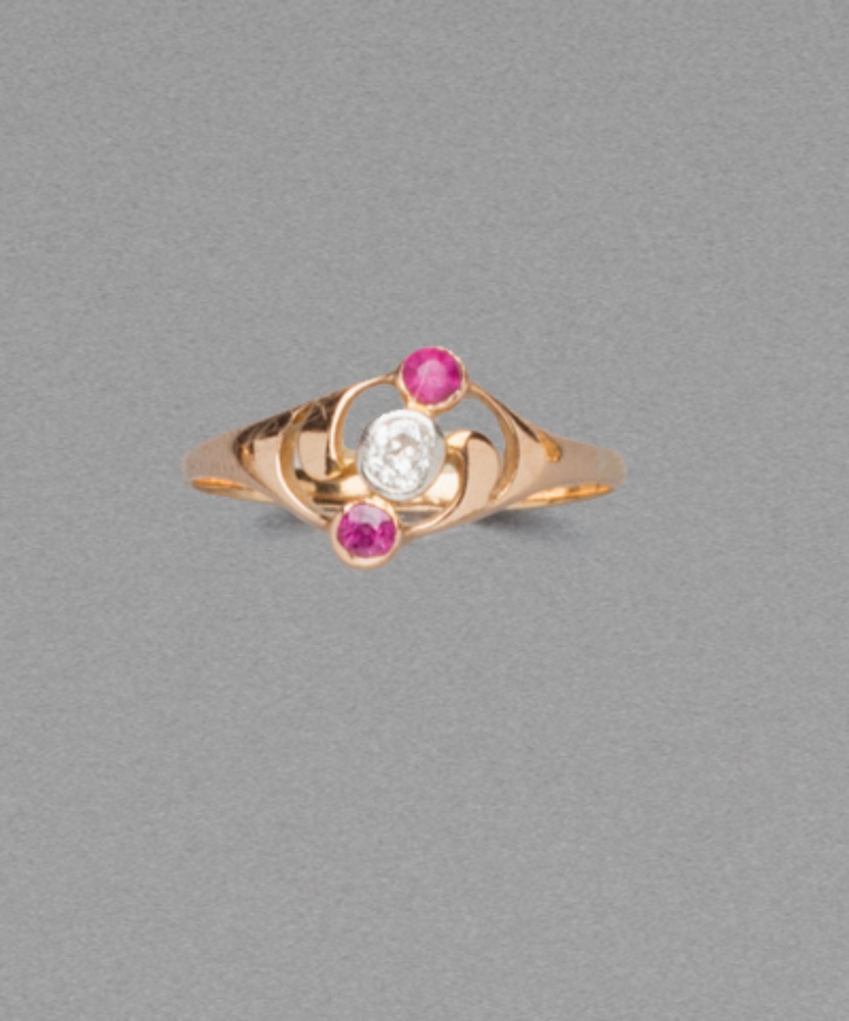 in oro, rubini e diamante