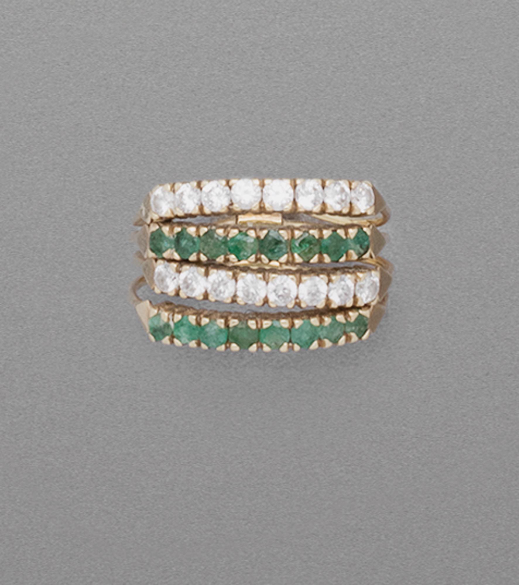 in oro, smeraldi e diamanti