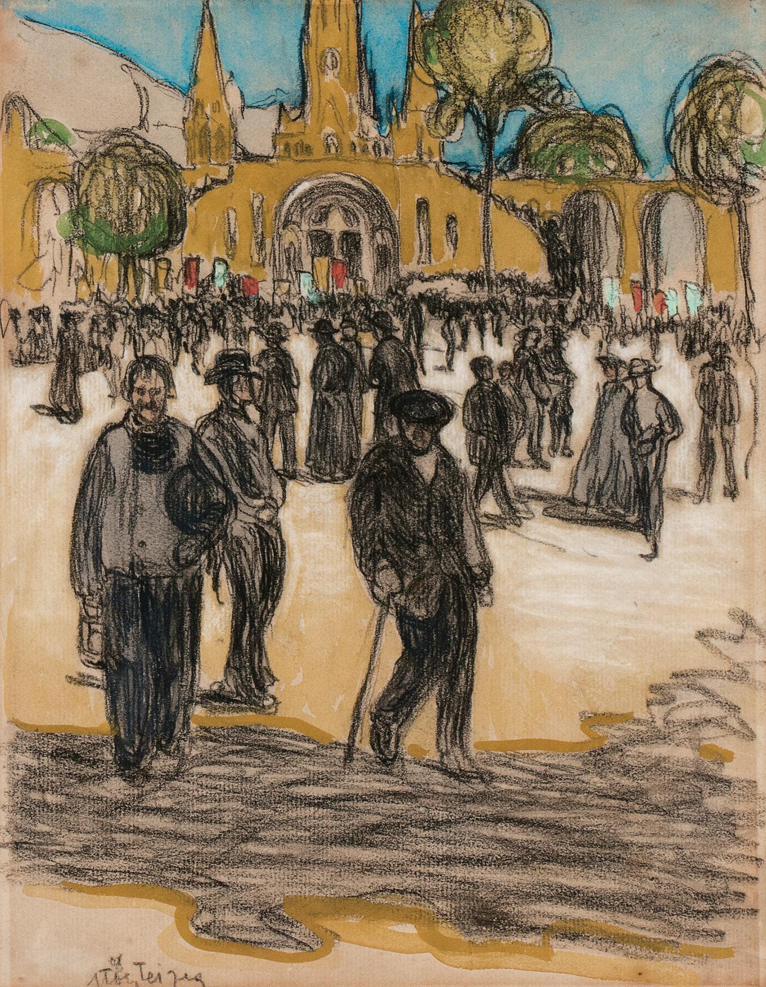 Folla nella Piazza di Lourdes, 1908