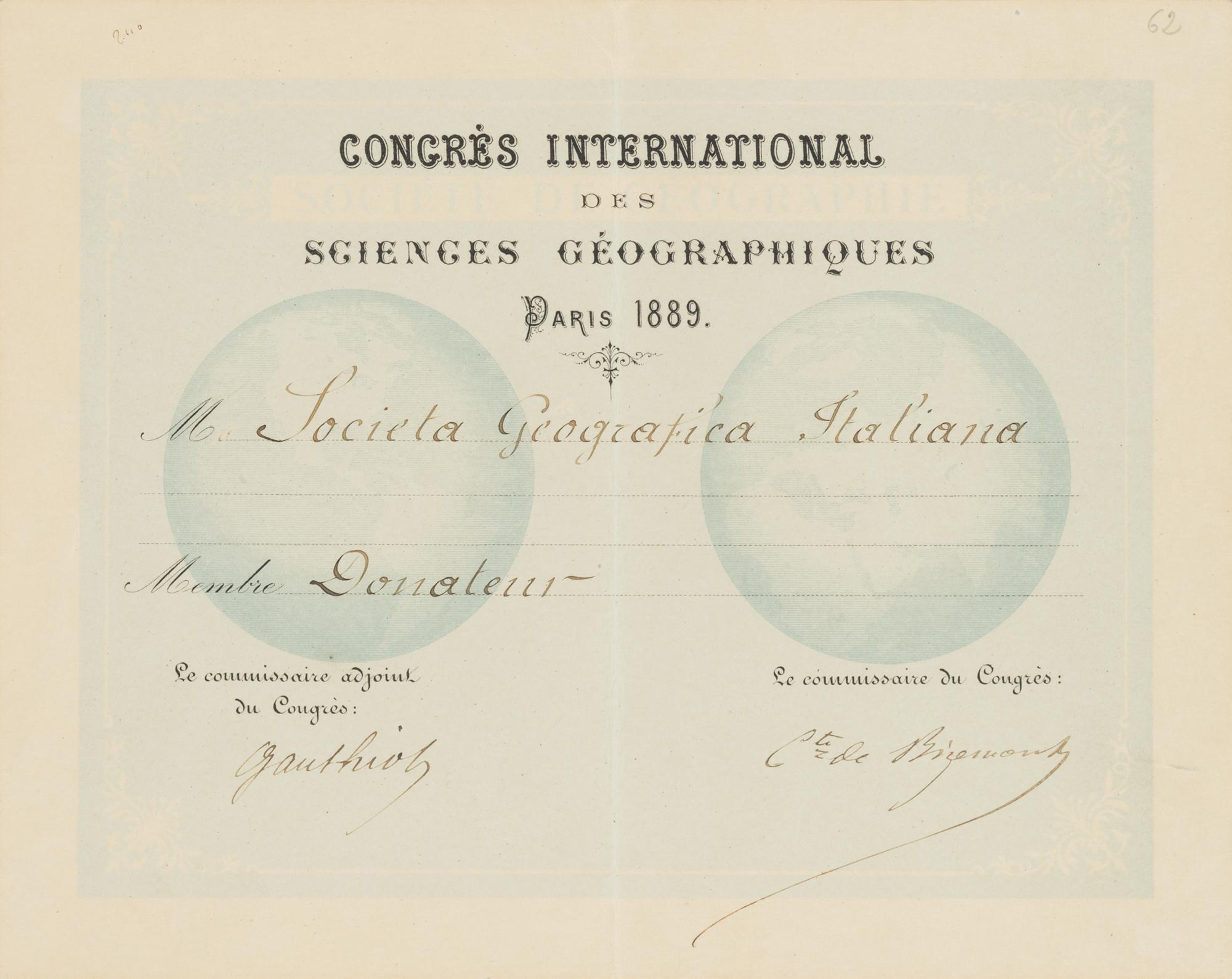ten diplomas awarded to the Società Geografica Italiana