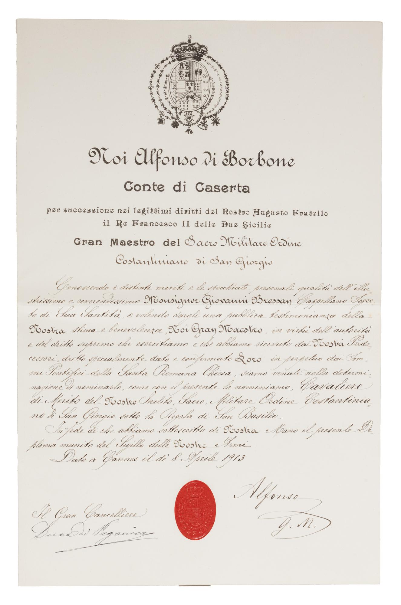 Diploma di cavaliere dell'Ordine Costantiniano di S.Giorgio