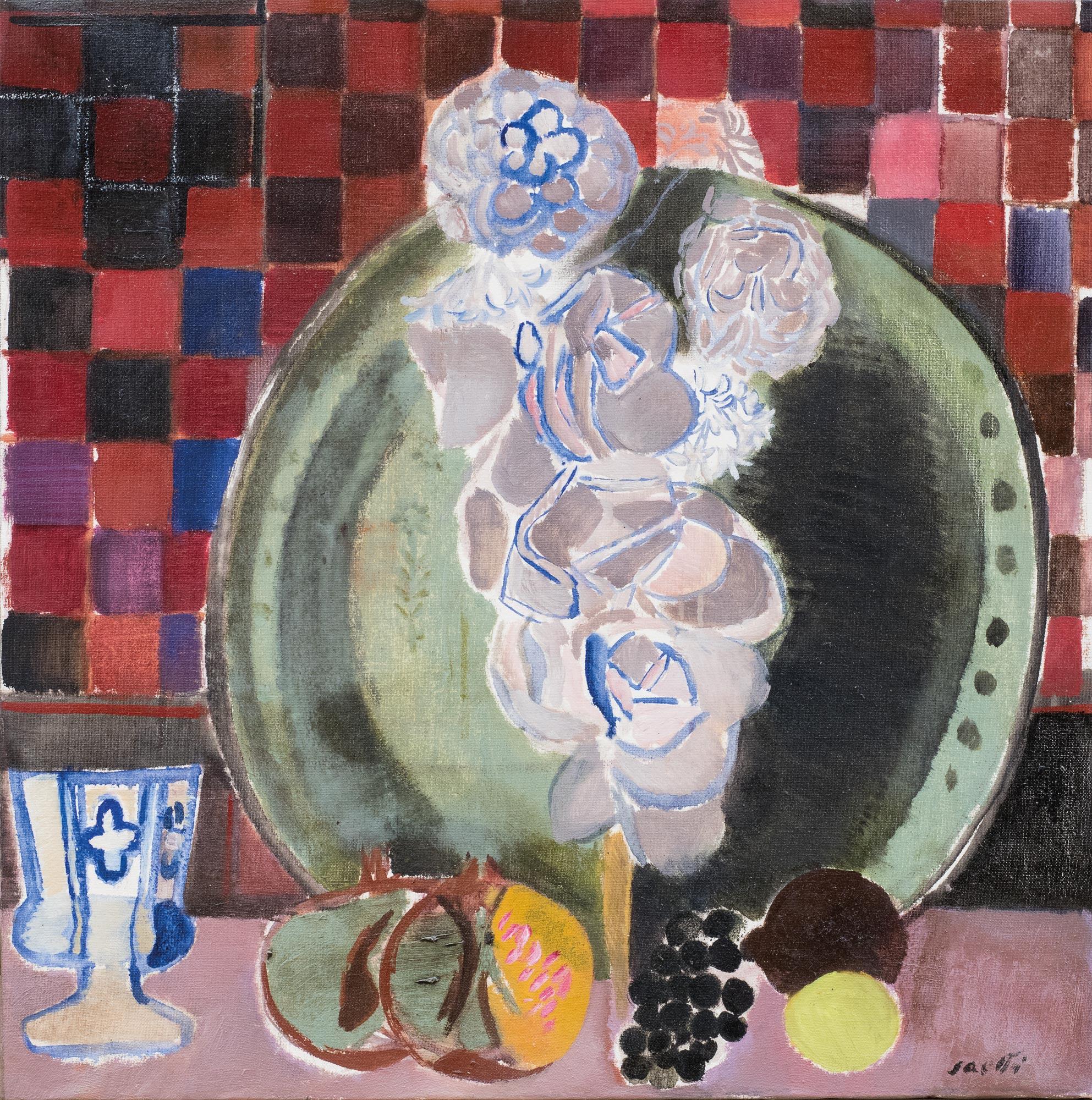 Rose e piatto verde con scacchiera, 1969