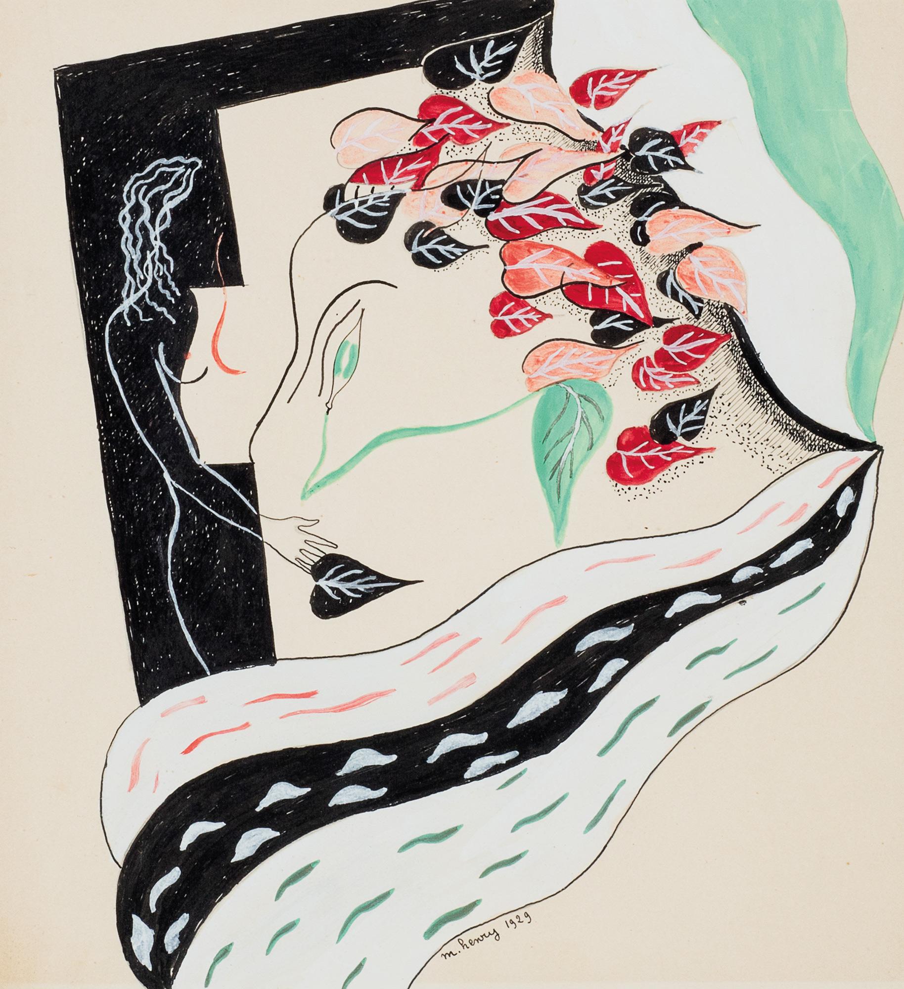 Nudo con foglie, 1929