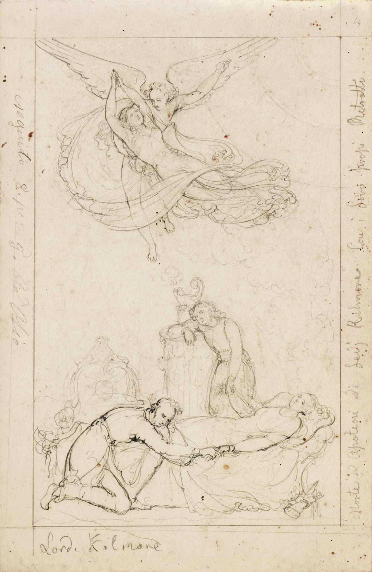 Lotto di sei disegni: l'apoteosi di Lady Kilmore; quattro disegni con vedute di Roma e della campagna romana e con studi di popolani in costume tradizionale; e un disegno raffigurante Villa Franca a Firenze
