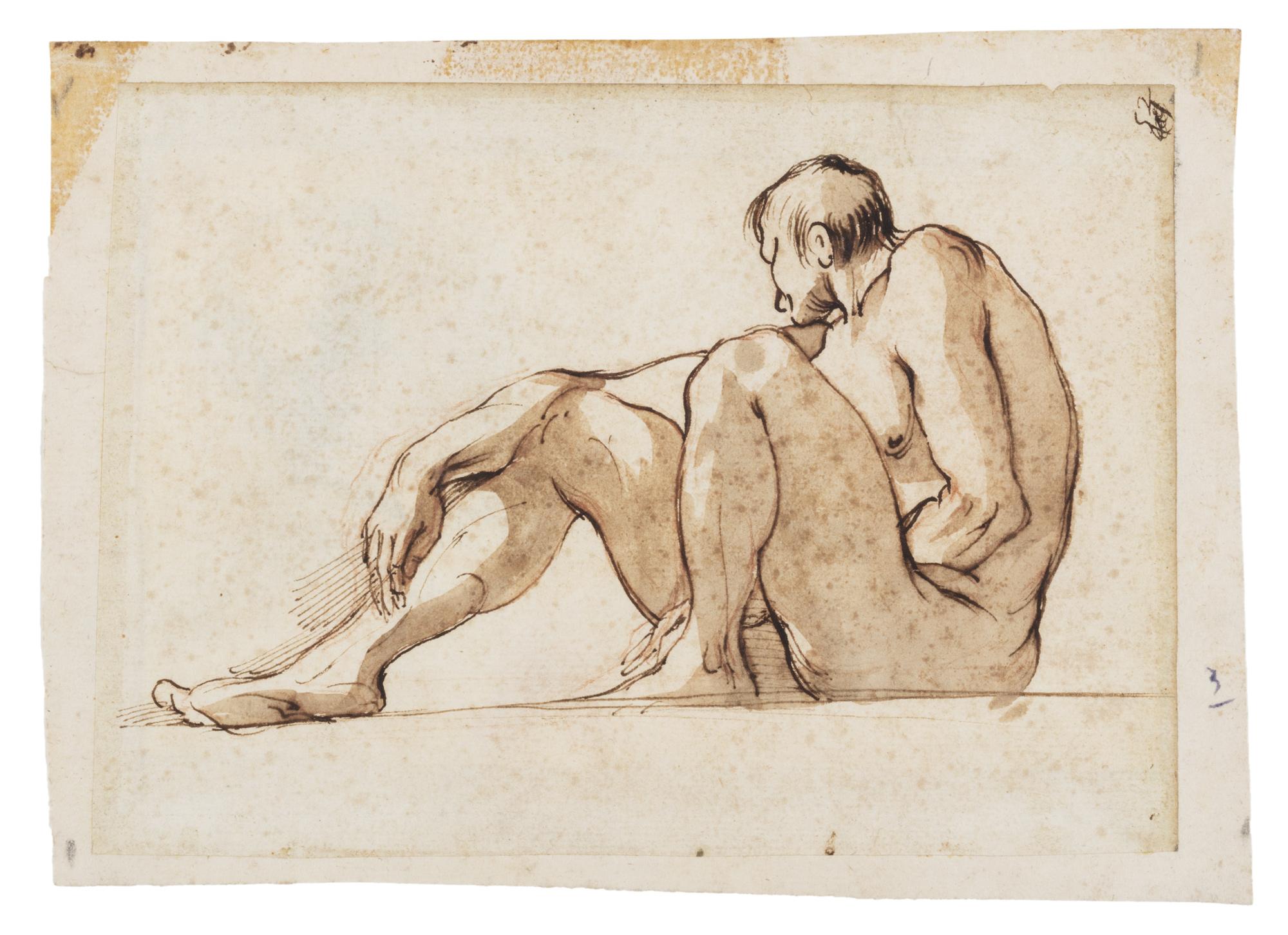 Studio di nudo maschile seduto, visto da sotto in sù