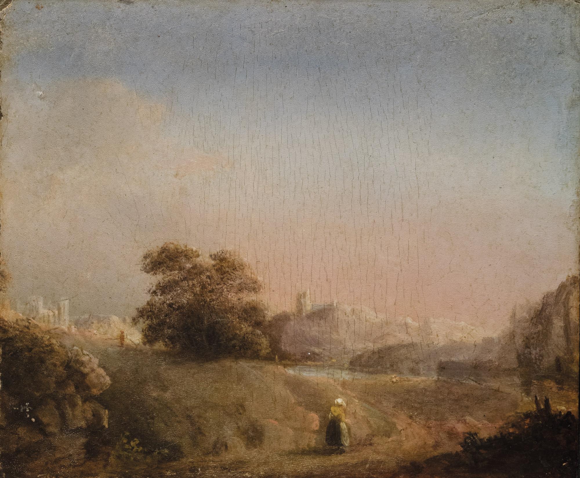 Paesaggio fluviale con contadina in primo piano e cattedrale in lontananza