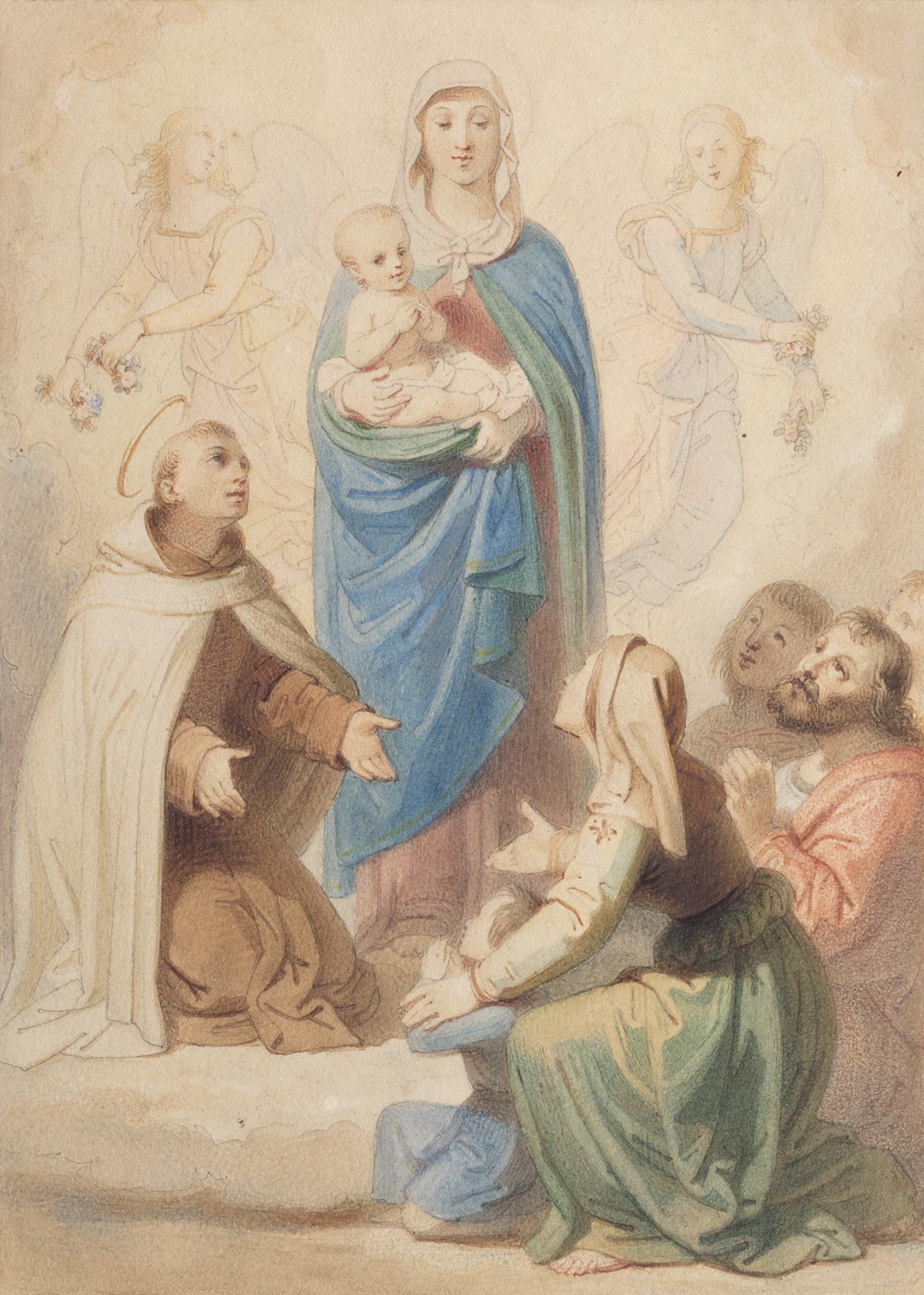 Madonna con Bambino, tra angeli, san Giovanni della Croce e alcuni devoti, modelletto per pala d'altare