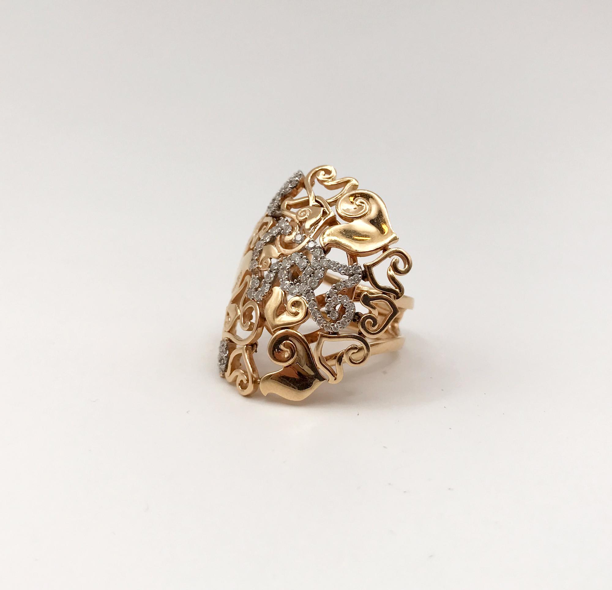 anello in oro bicolore e diamanti