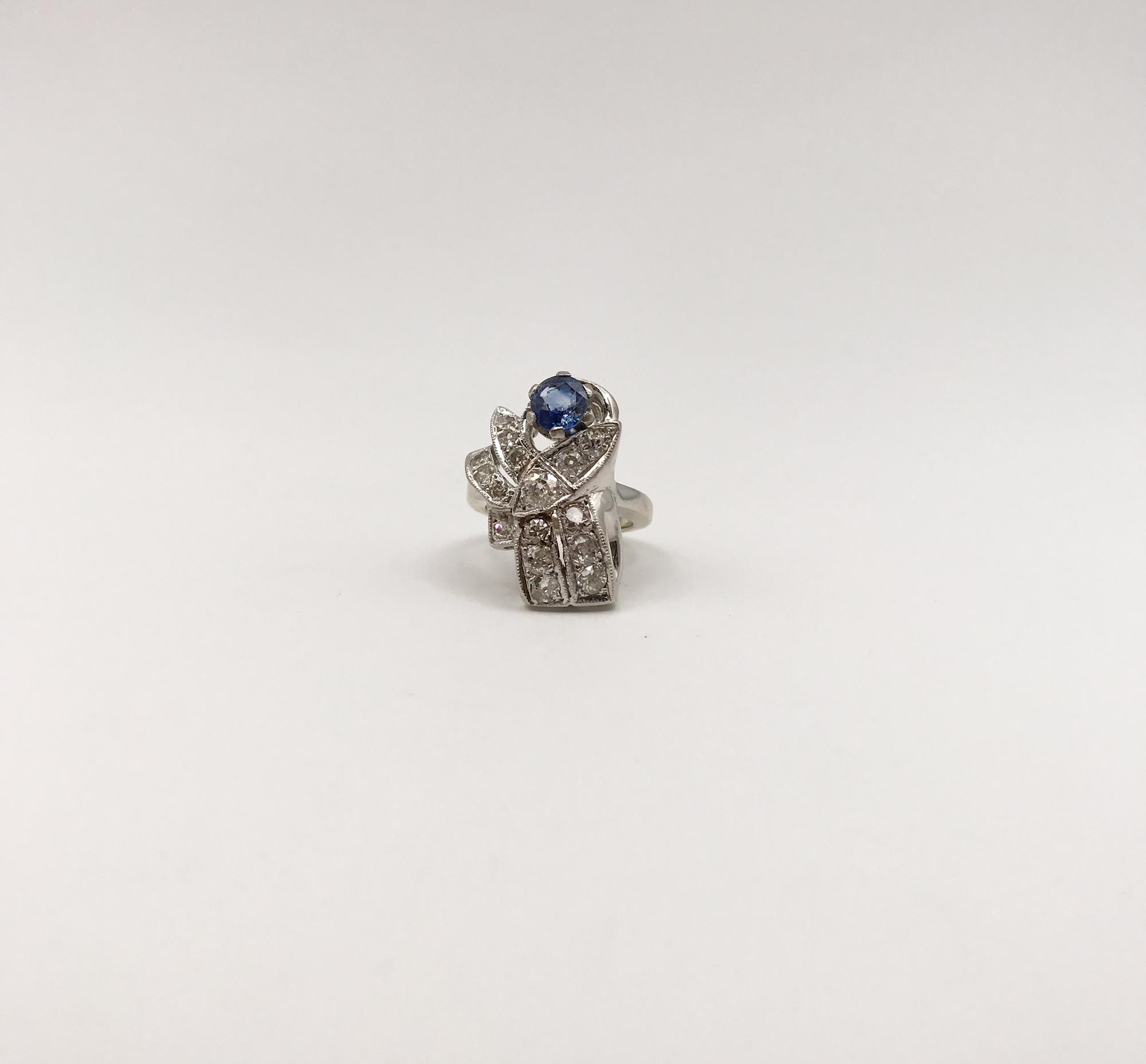 in oro bianco 14kt, zaffiro e diamanti