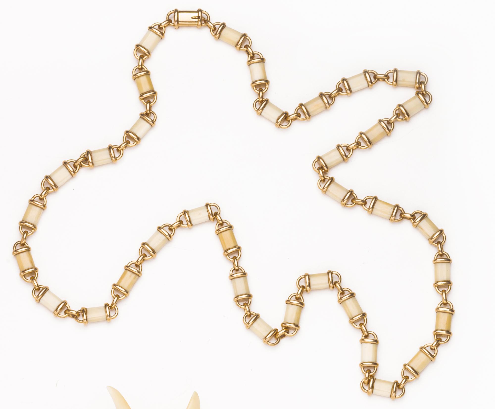 collana in oro ed avorio
