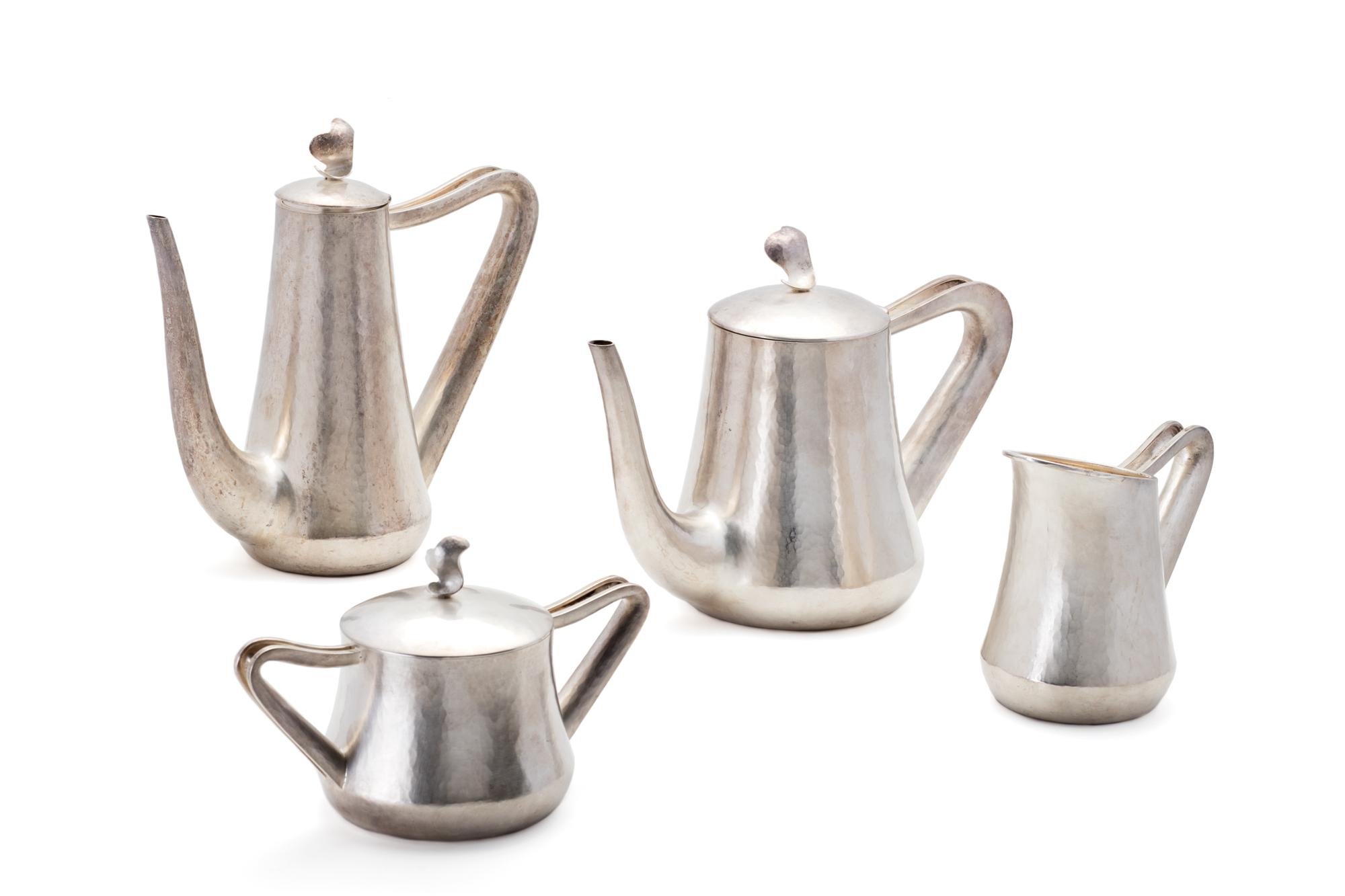 servizio da tè e caffè in argento, Italia XX secolo
