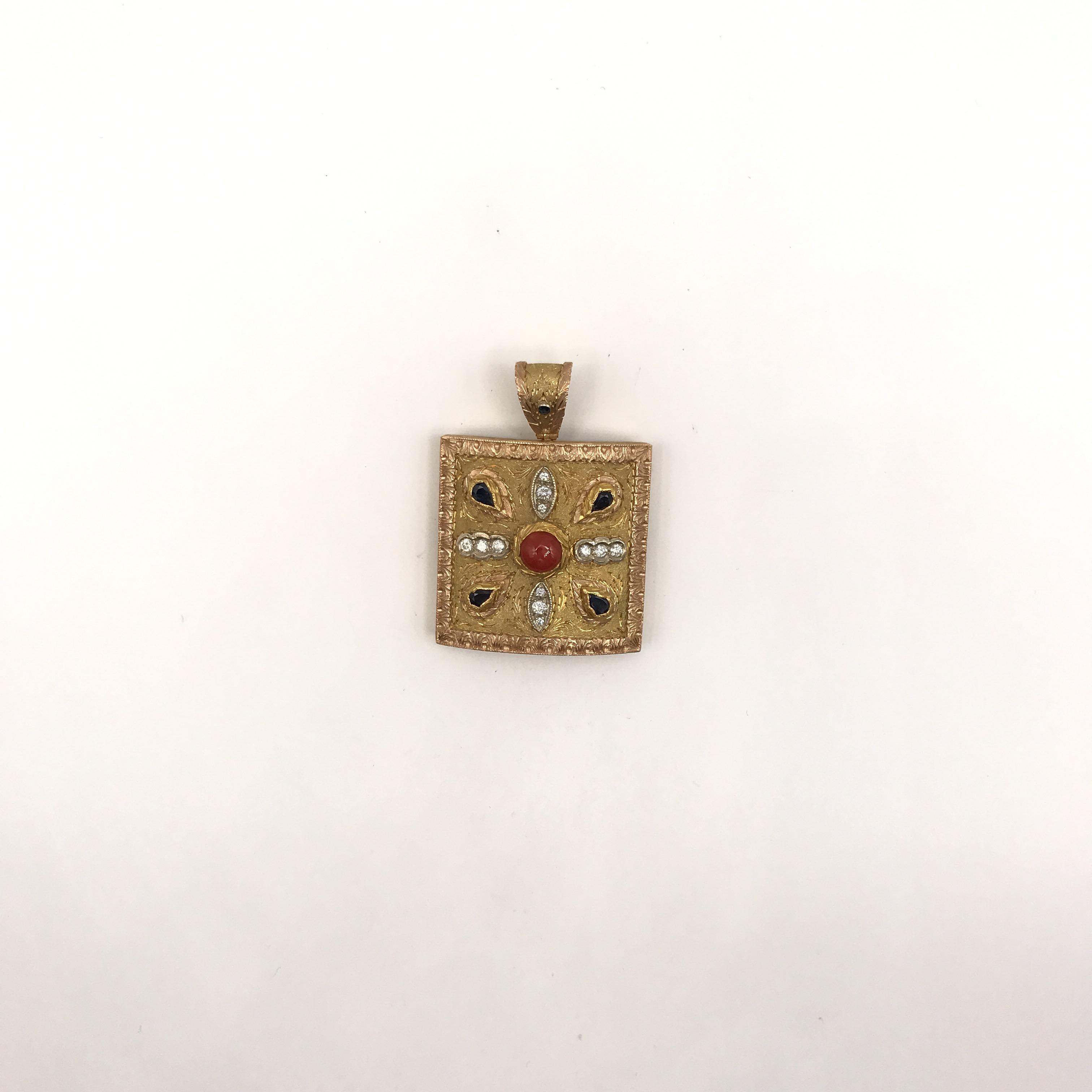 pendente in oro bicolore, zaffiri, corallo e diamanti